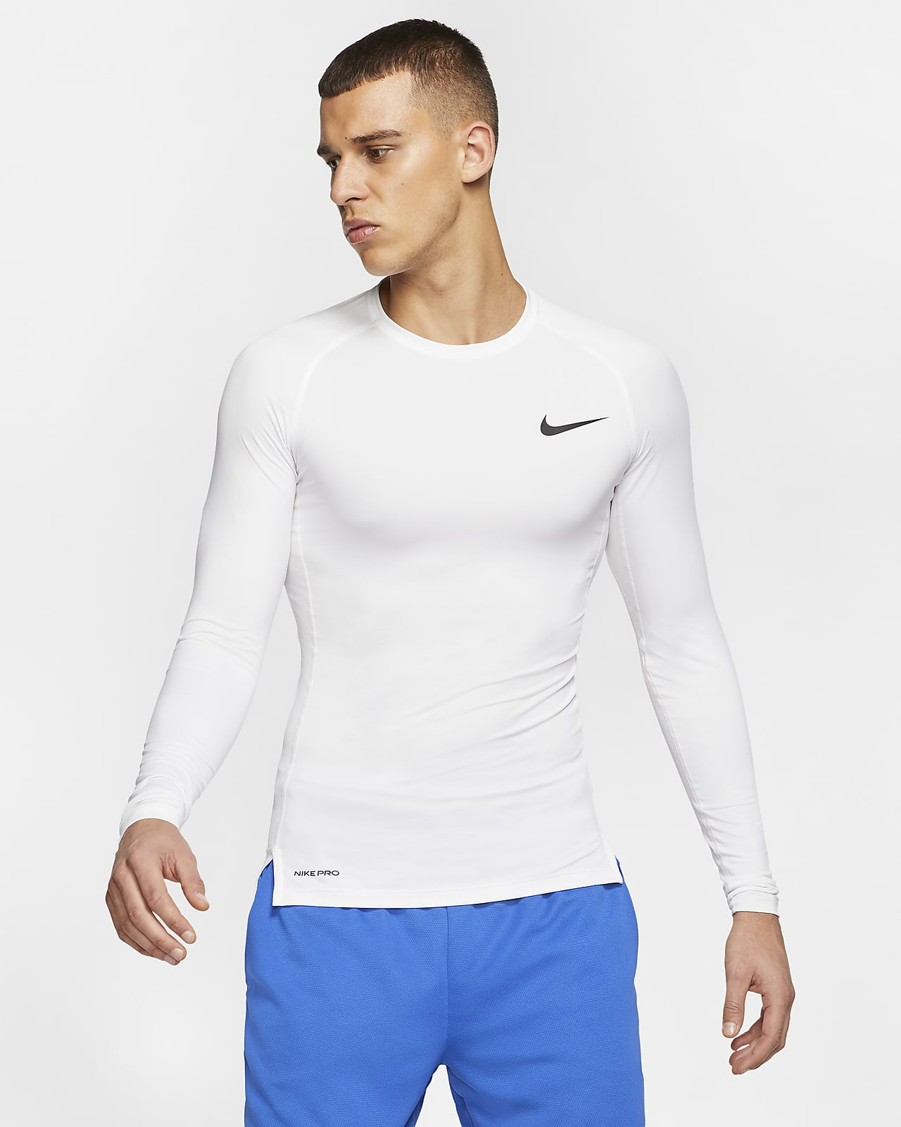 Nike Men/'s pro Dry Fit Compression Long Sleeve Functional Shirt White