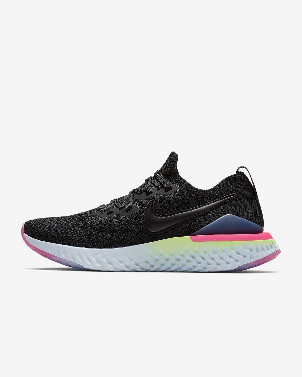 Women's Nike Epic React Flyknit 2 'Black / Lime Blast' .97 Free Shipping