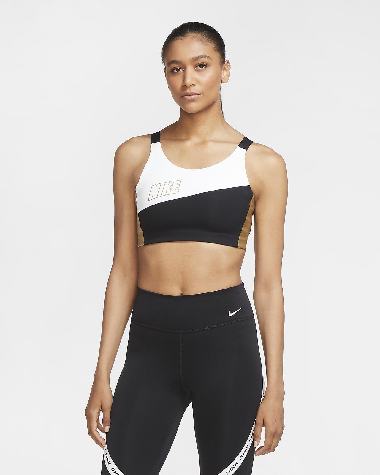 Nike Swoosh közepes tartást adó fémes női sportmelltartó