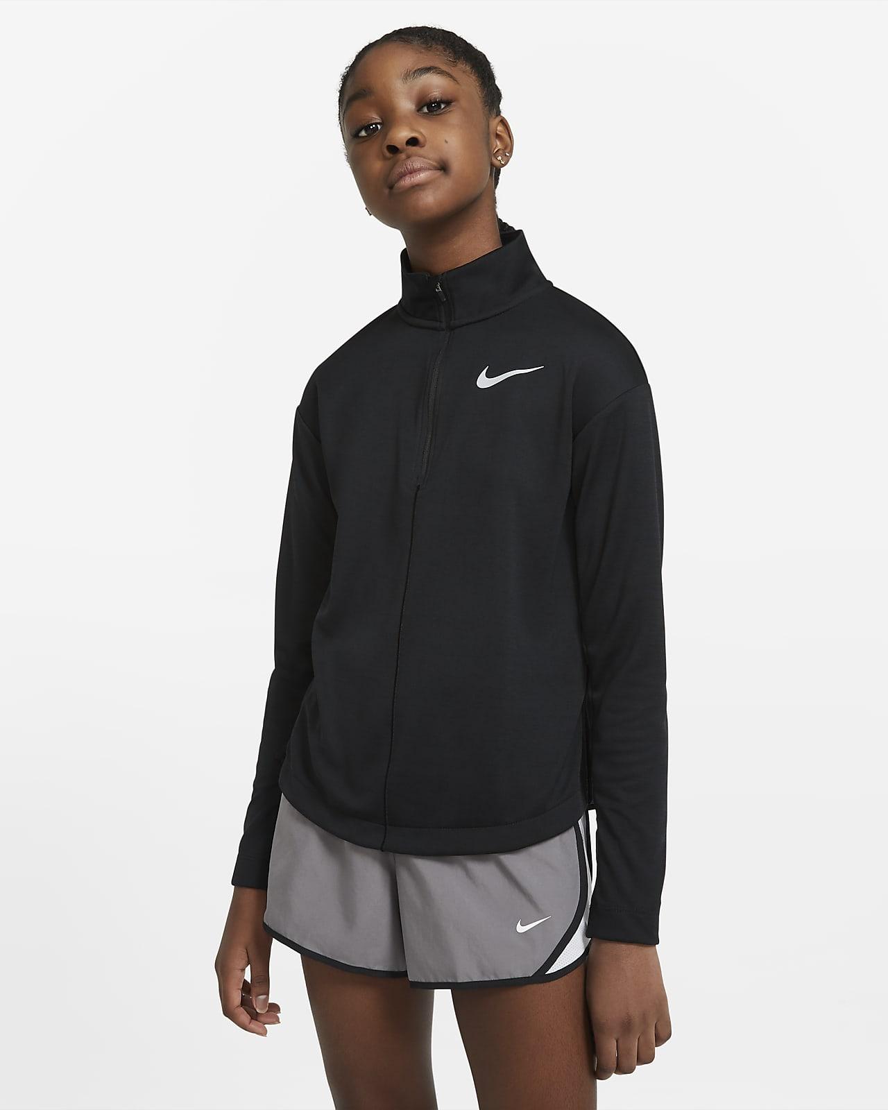 Беговая футболка с длинным рукавом и молнией на половину длины для девочек школьного возраста Nike
