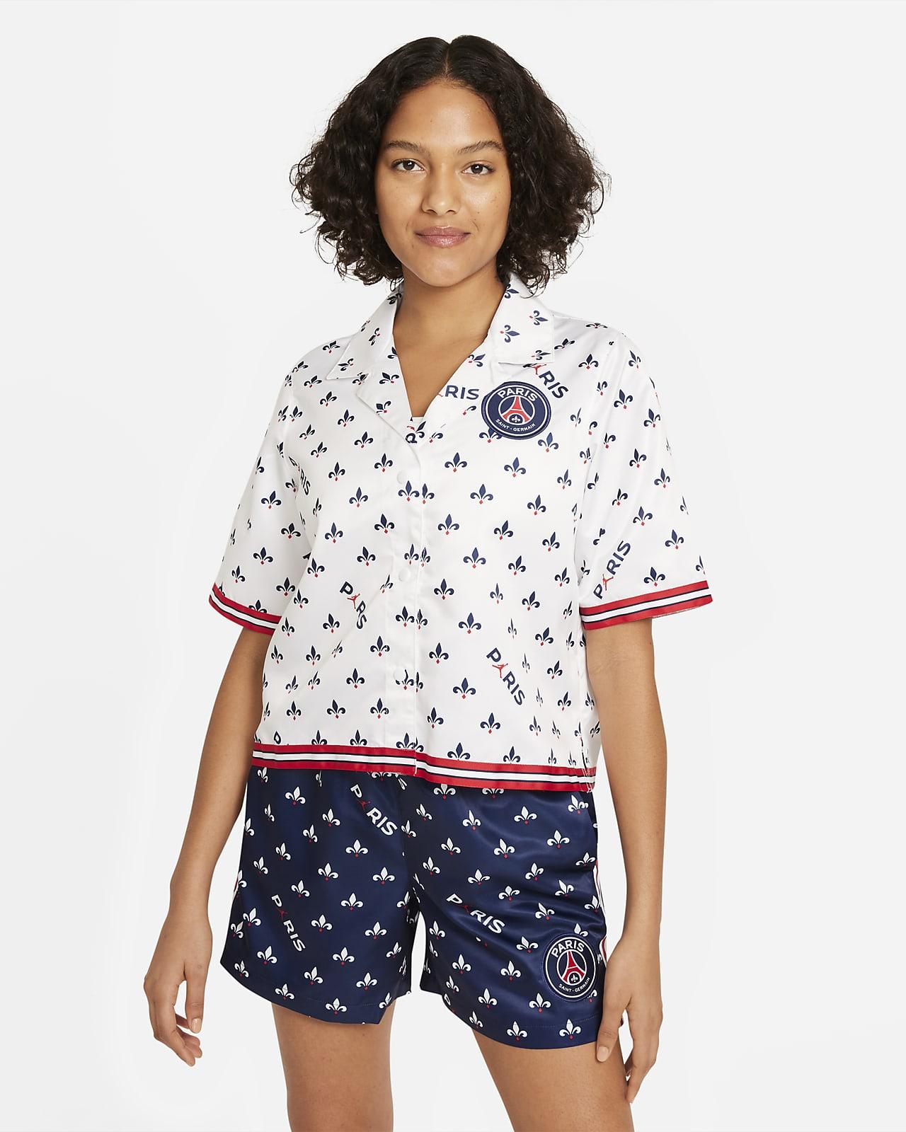 Damska koszulka piłkarska z krótkim rękawem i nadrukiem Paris Saint-Germain