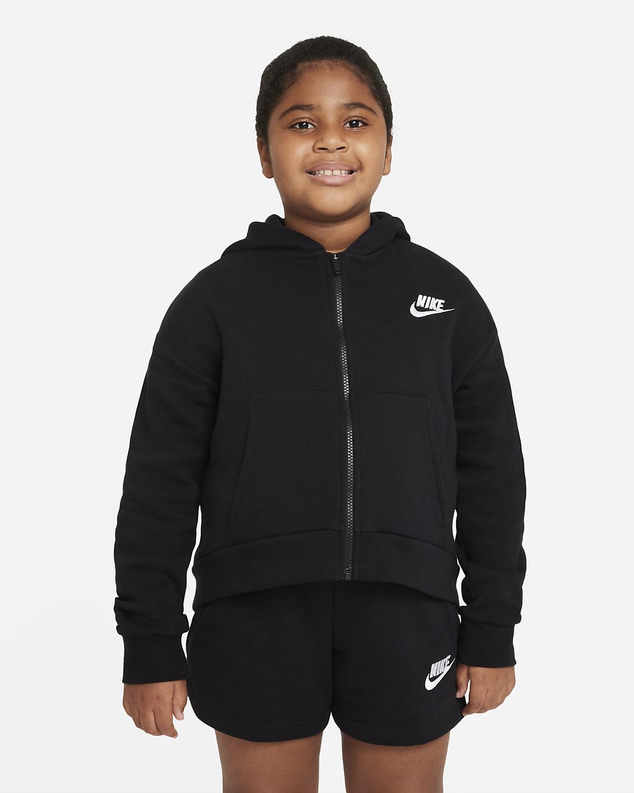 Nike Sportswear Club Fleece hettegenser med hel glidelås til store barn (jente) (utvidet størrelse)