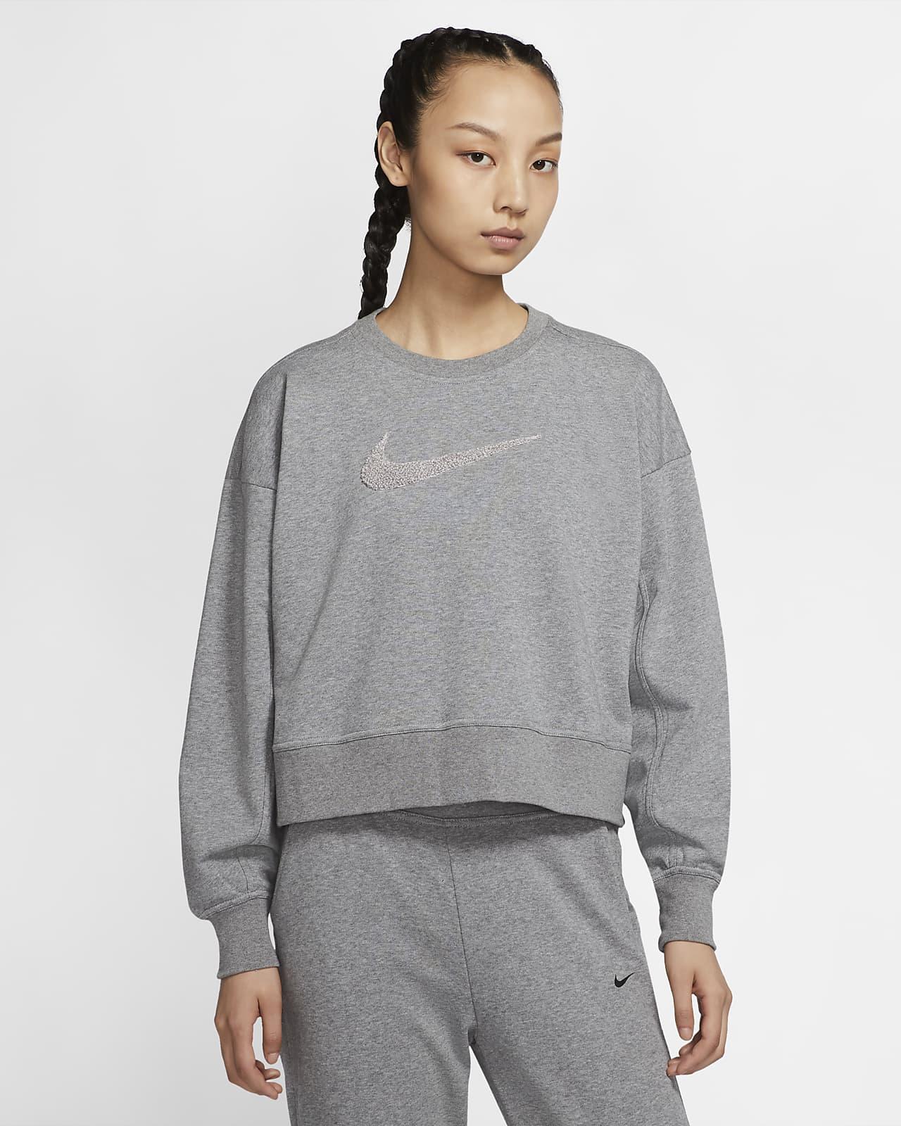 Nike Dri-FIT Get Fit-Swoosh-træningstrøje med rund hals til kvinder