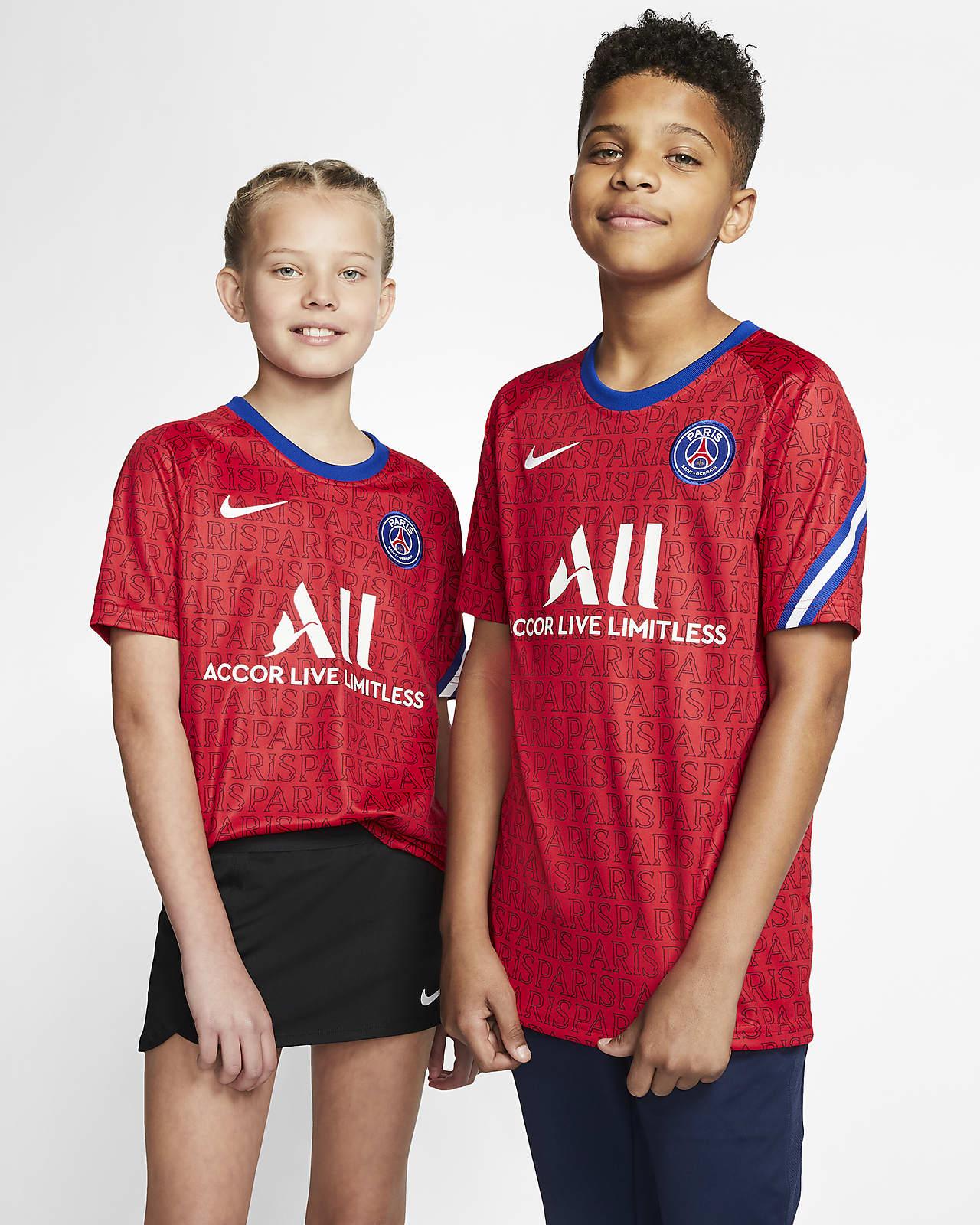 Paris Saint-Germain Big Kids' Short-Sleeve Soccer Top