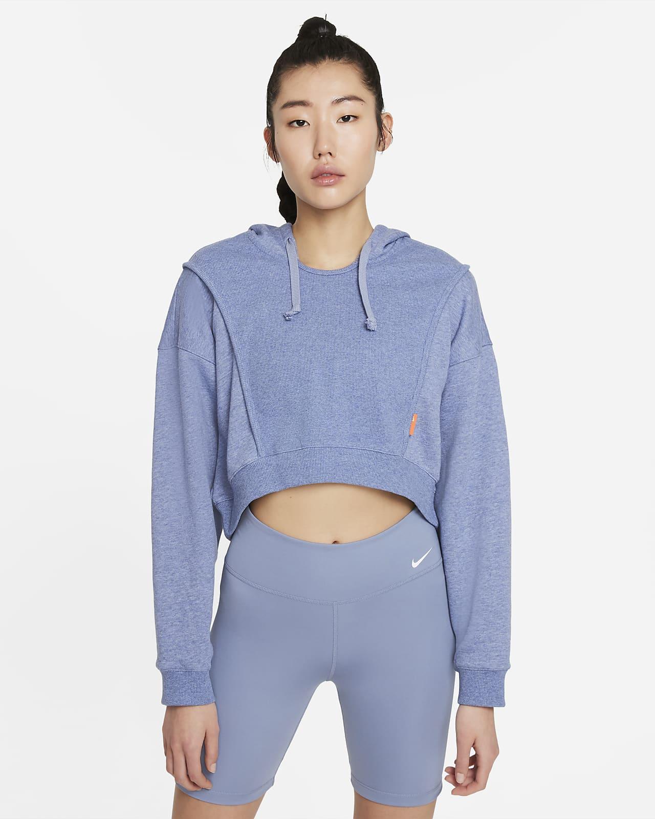 เสื้อเทรนนิ่งมีฮู้ดเอวลอยผ้าฟลีซผู้หญิง Nike Dri-FIT