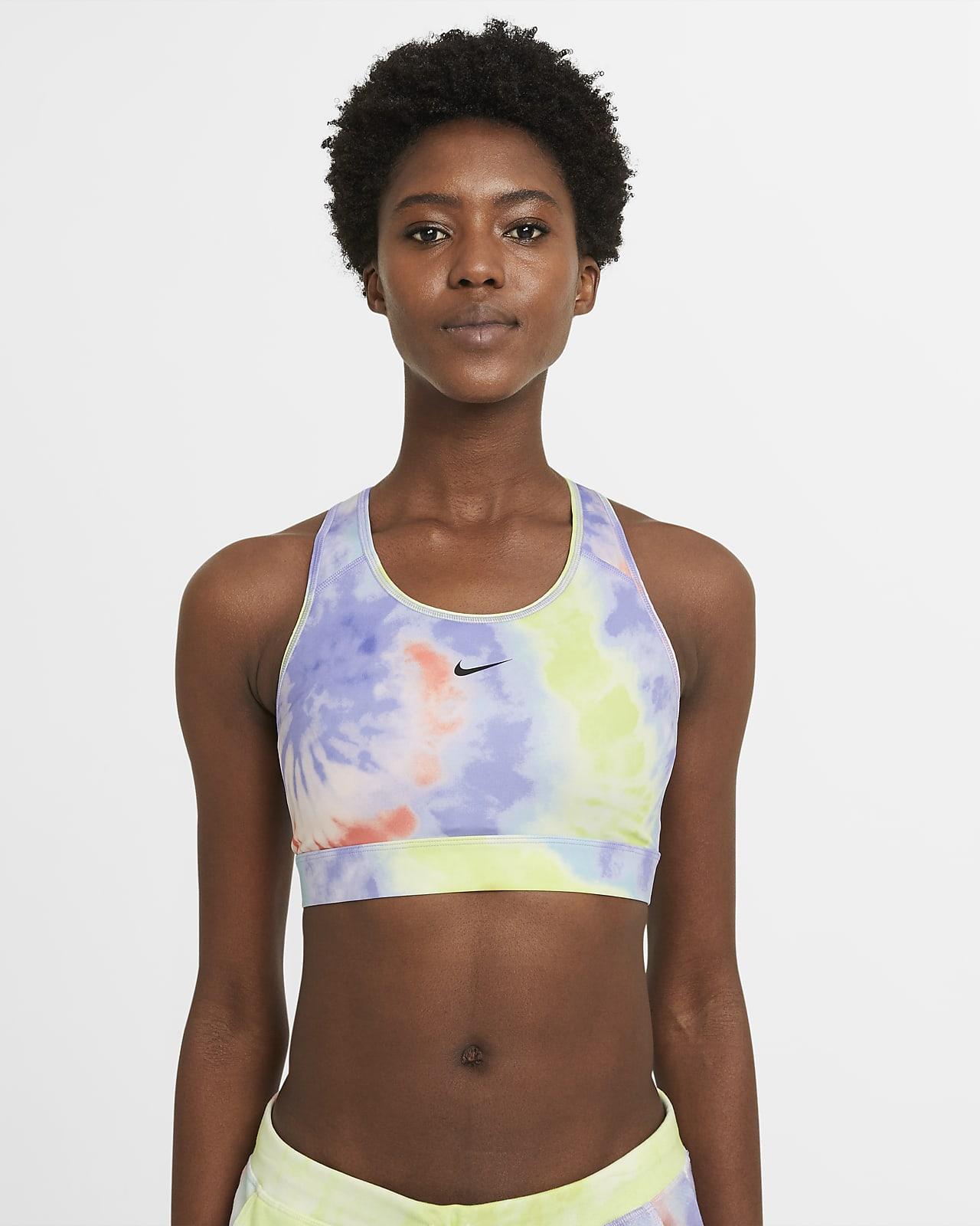 Sujetador deportivo teñido con almohadilla de una sola pieza de sujeción media para mujer Nike Dri-FIT Swoosh