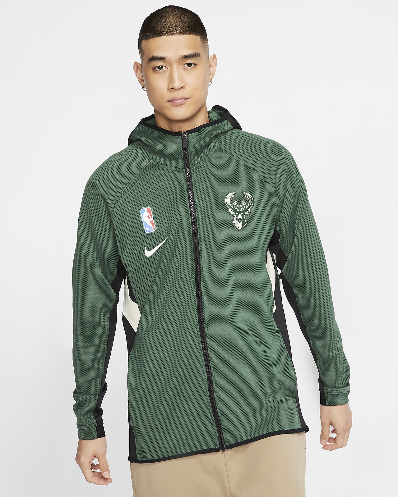 Sweat à capuche NBA Milwaukee Bucks Nike Therma Flex Showtime pour Homme