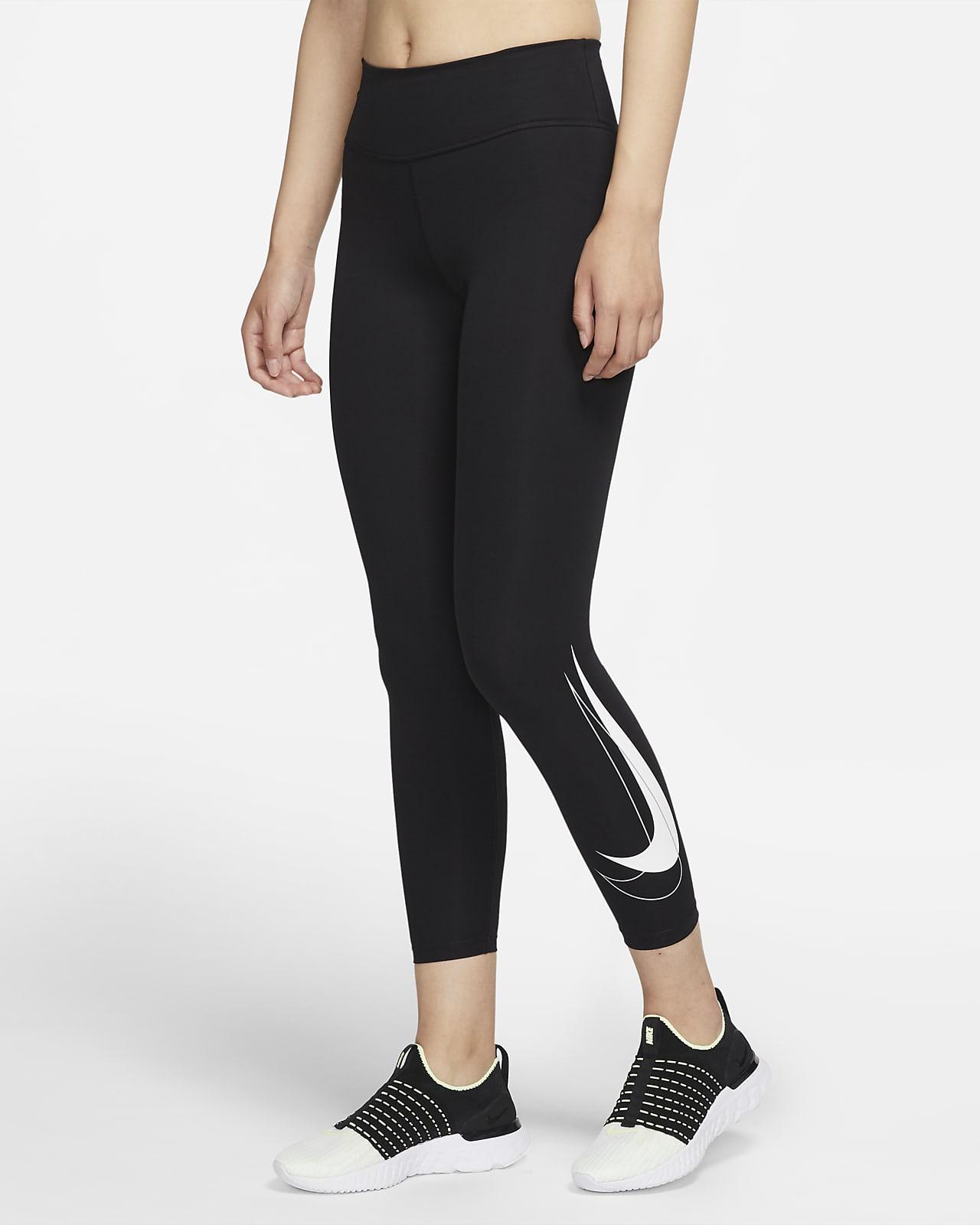 เลกกิ้งวิ่งเอวปานกลาง 7/8 ส่วนผู้หญิง Nike Dri-FIT Swoosh Run