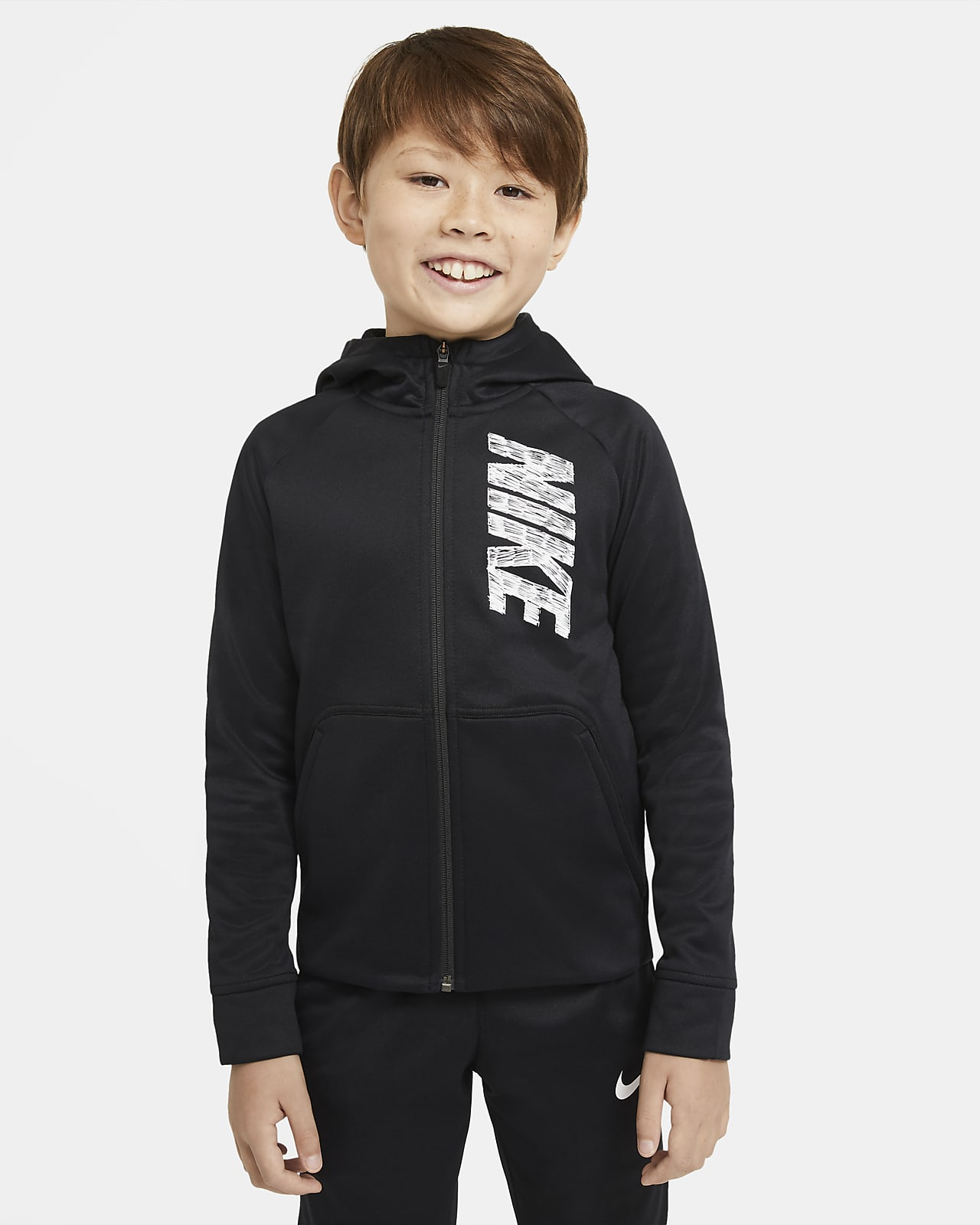Nike Therma treningshettejakke med hel glidelås og grafikk til store barn (gutt)