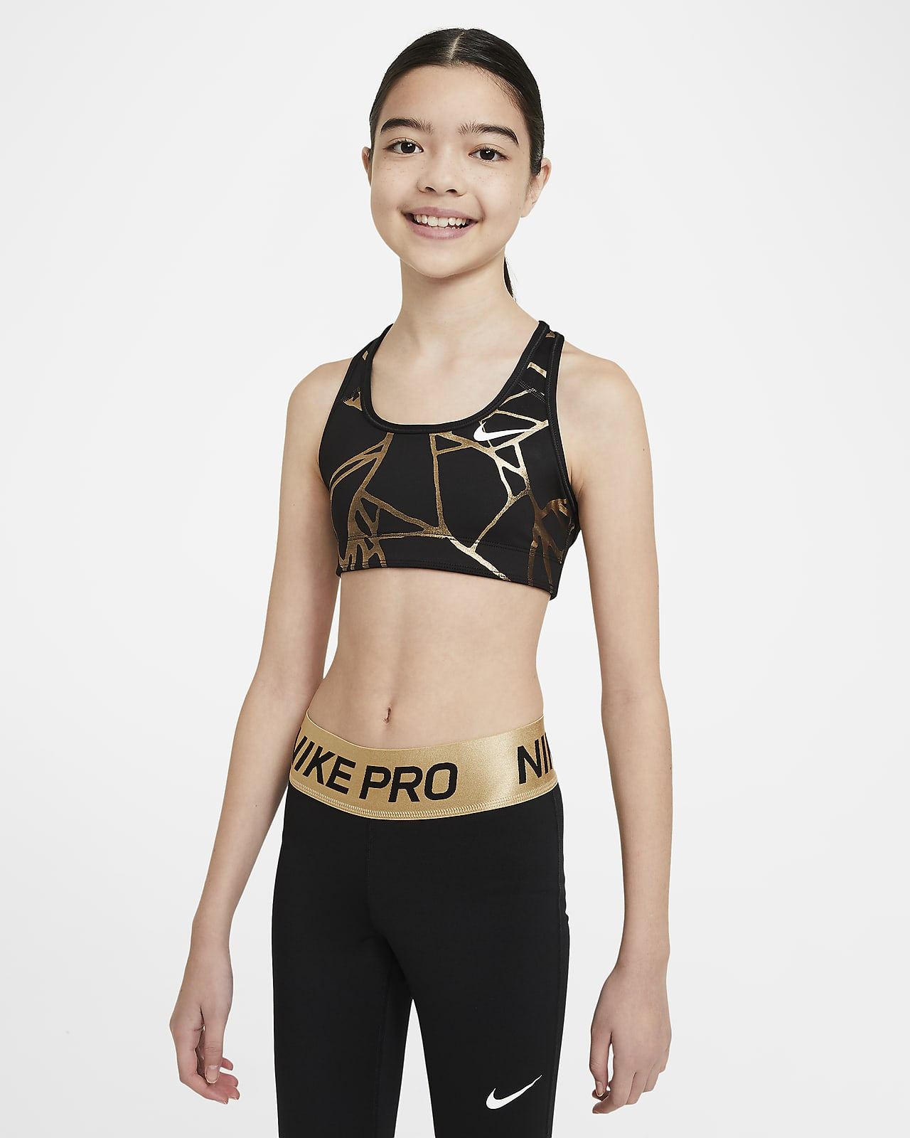 Nike Swoosh kifordítható mintás sportmelltartó nagyobb gyerekeknek (lányoknak)