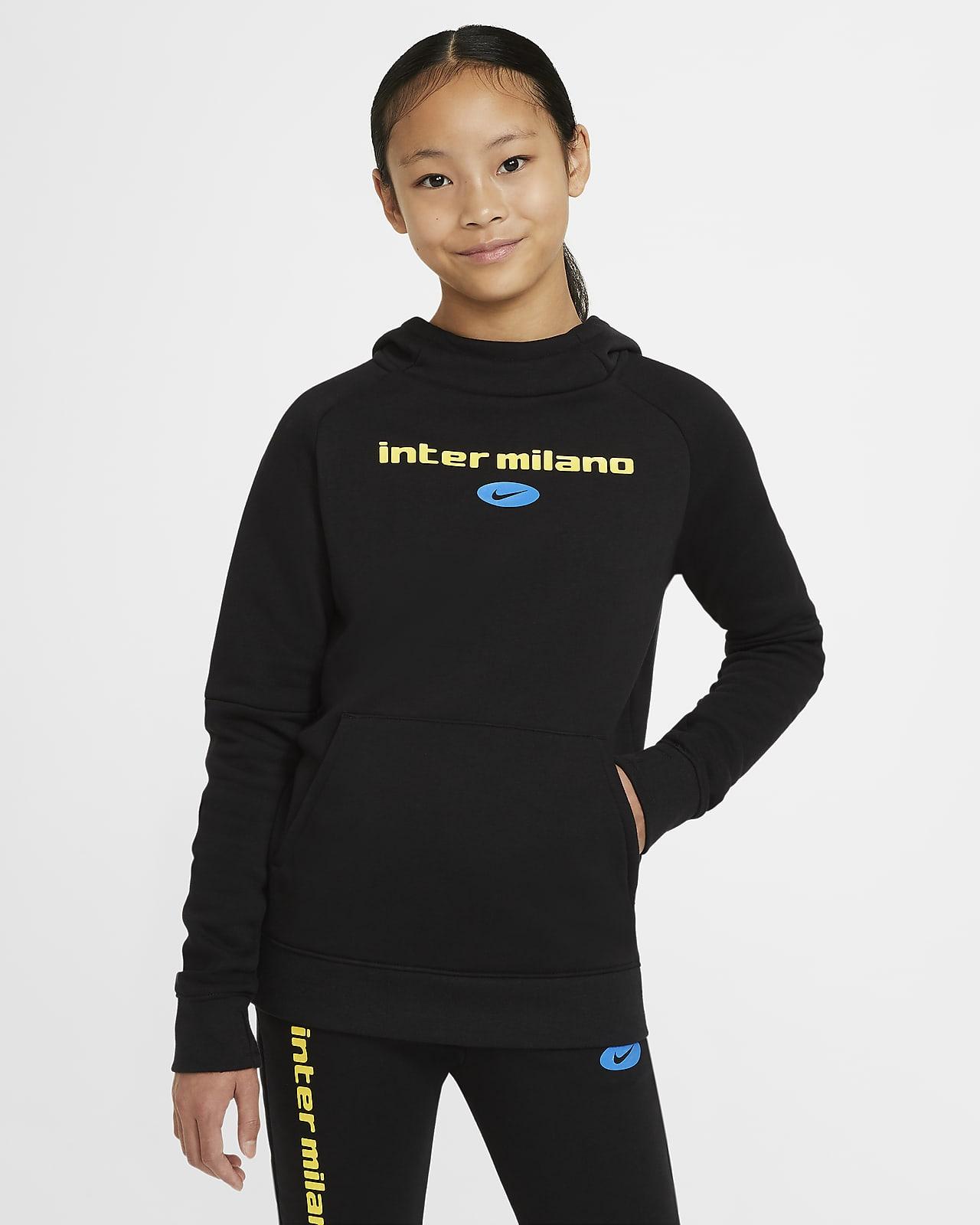 Sudadera con capucha de fútbol de tejido Fleece para niños talla grande Inter Milan