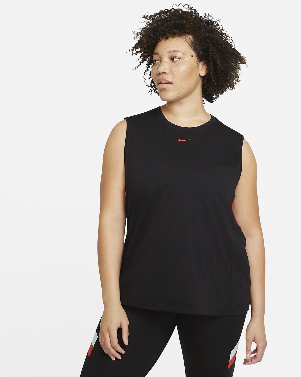 Nike Dri-FIT Renk Bloklu Çizgili Kadın Antrenman Atleti (Büyük Beden)
