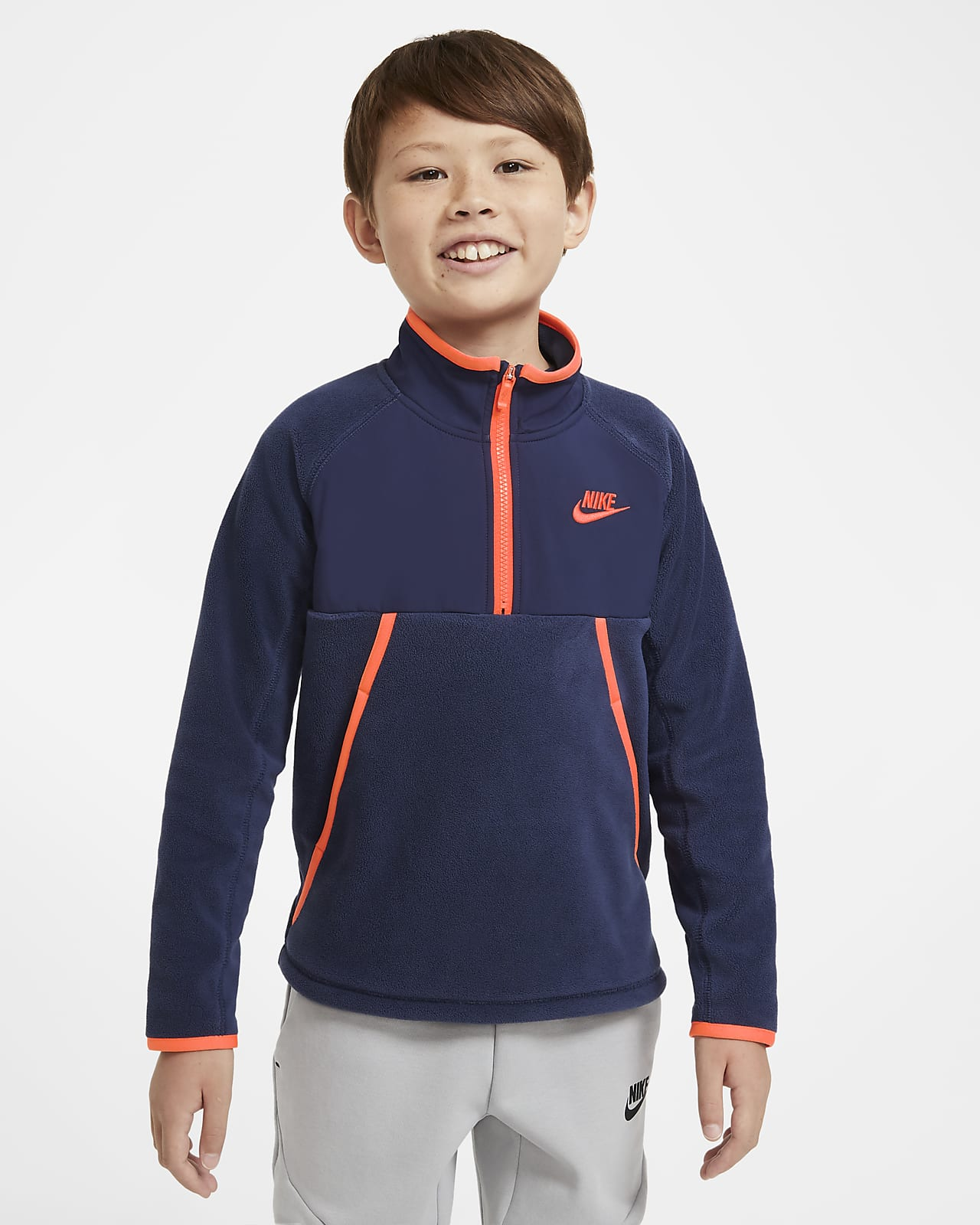 Зимняя худи с молнией на половину длины для мальчиков школьного возраста Nike Sportswear
