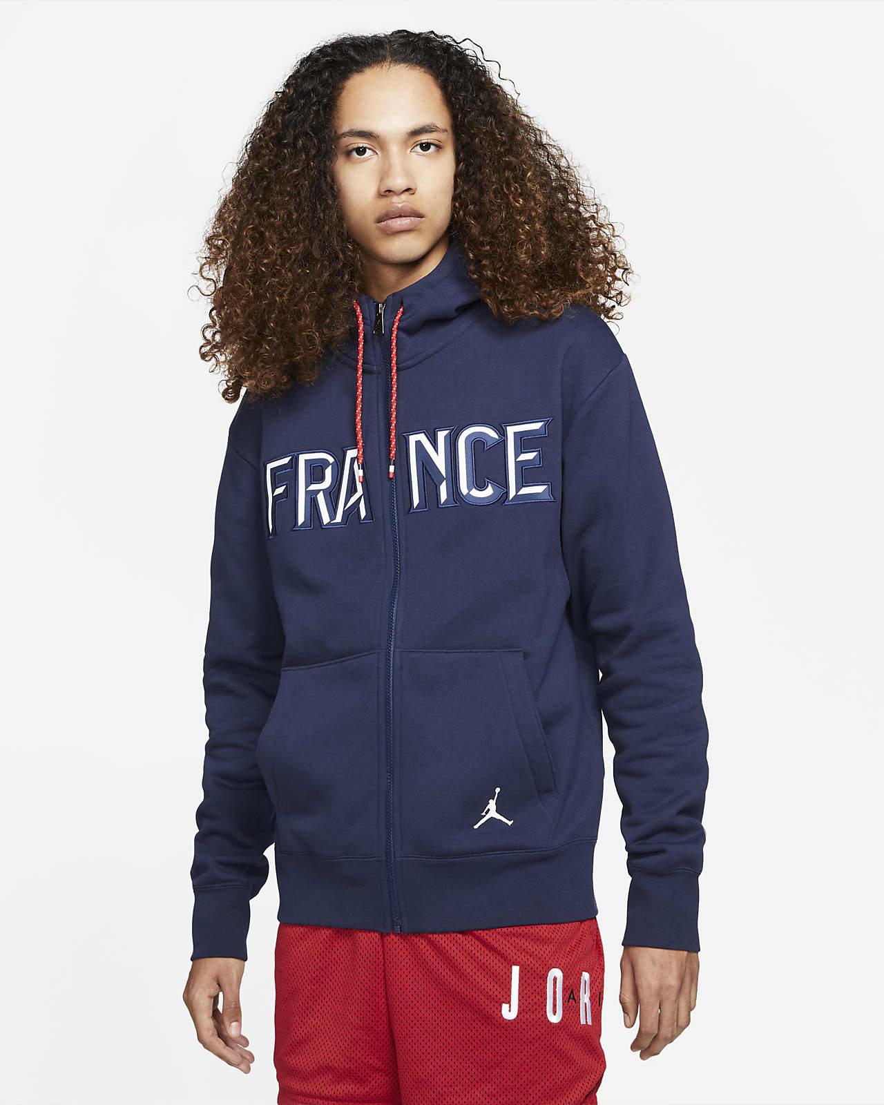 Hoodie de lã cardada com fecho completo France Jordan Flight para homem