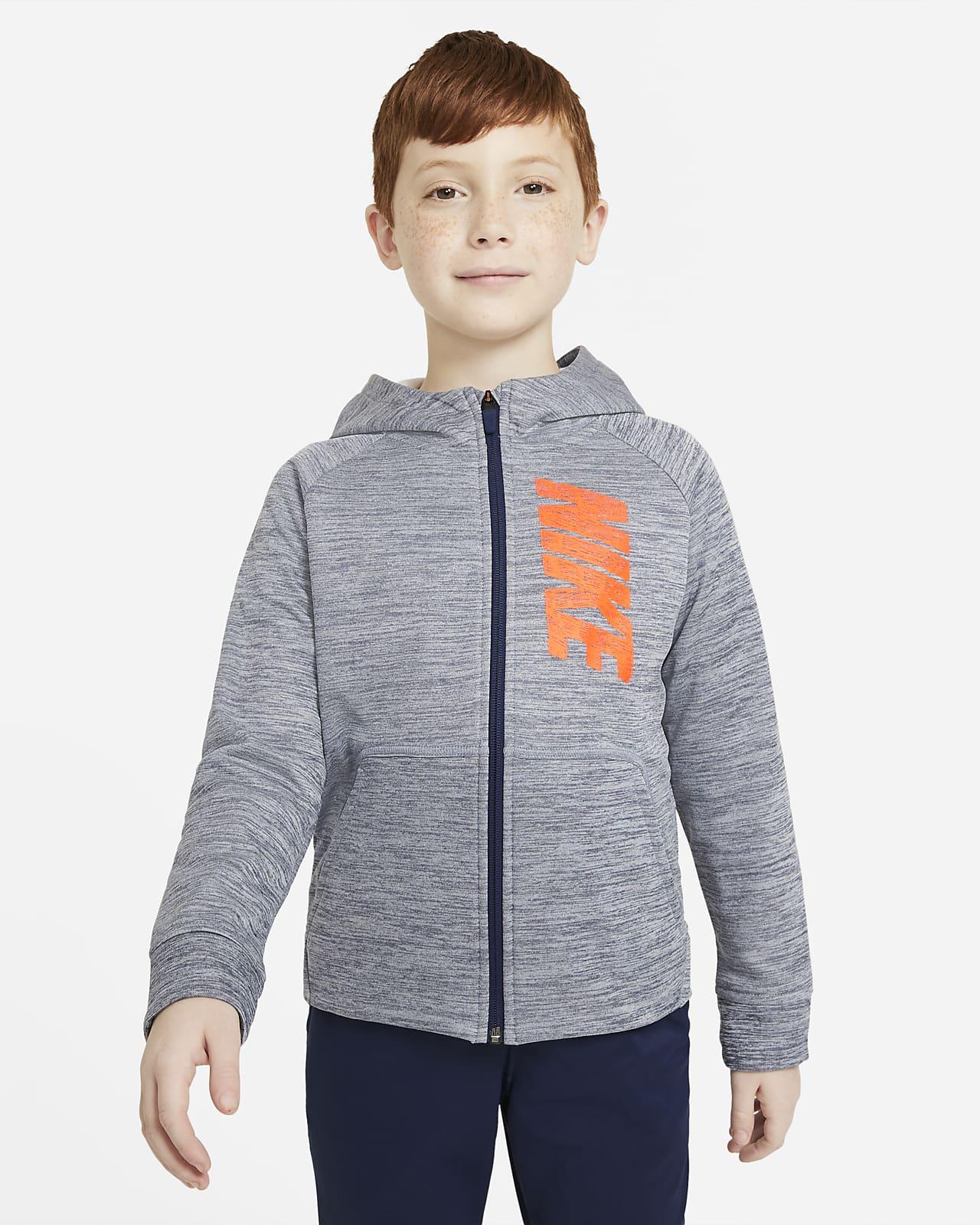 Tréninková mikina Nike Therma s kapucí, zipem po celé délce a grafickým motivem pro větší děti (chlapce)