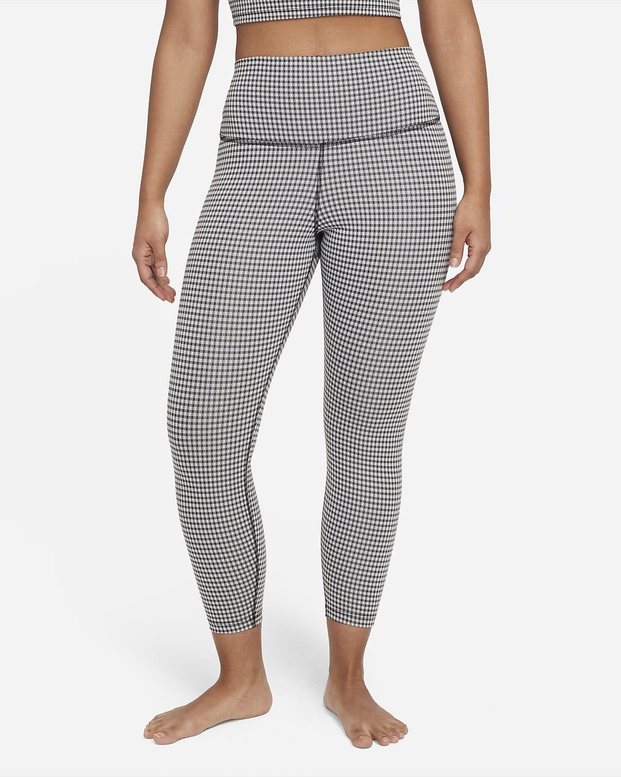 Korte Nike Yoga Gingham-leggings med høj talje til kvinder