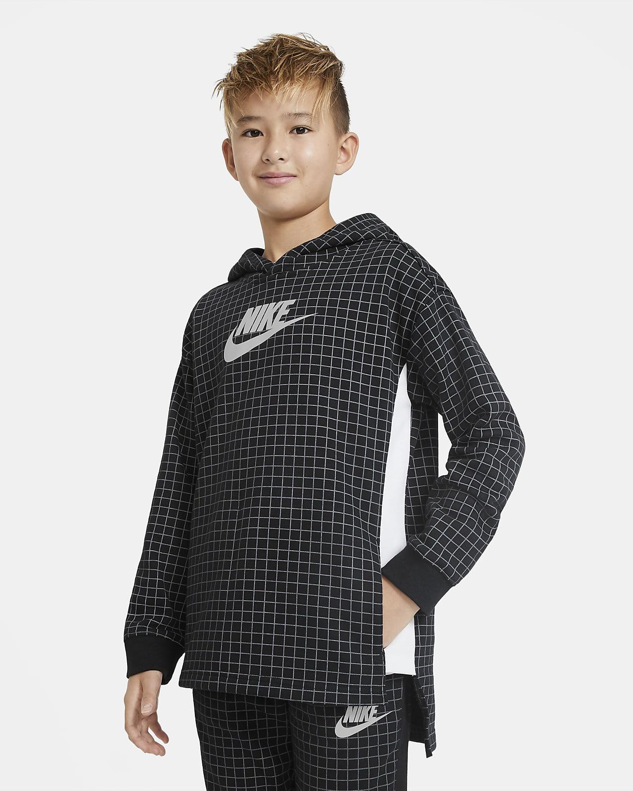 Flísová mikina Nike Sportswear pro větší děti (chlapce) skulatým výstřihem