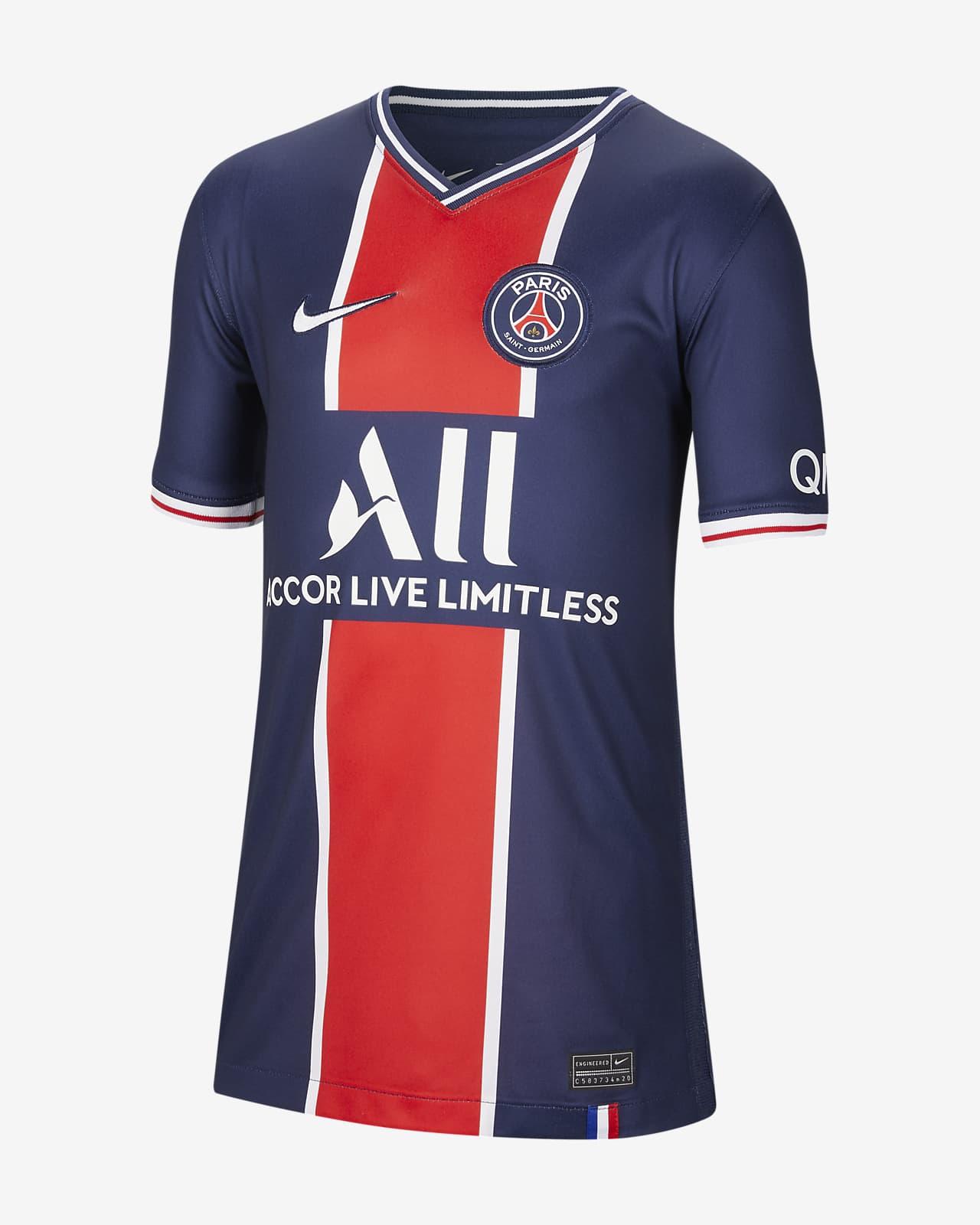 Paris Saint Germain 2020 2021 Stadium Home Older Kids Football Shirt Nike Ca