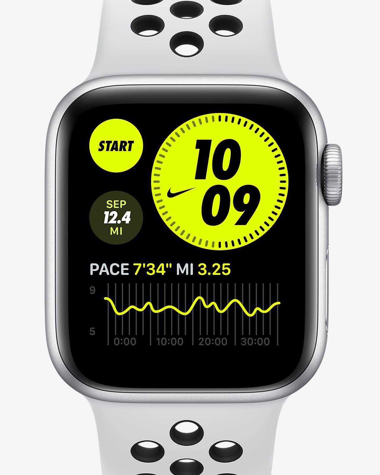 ساعة ابل نايكي SE GPS, 40 ملم هيكل رمادي من الالمنيوم مع سوار نايك الرياضي اسود / اسود - عادي