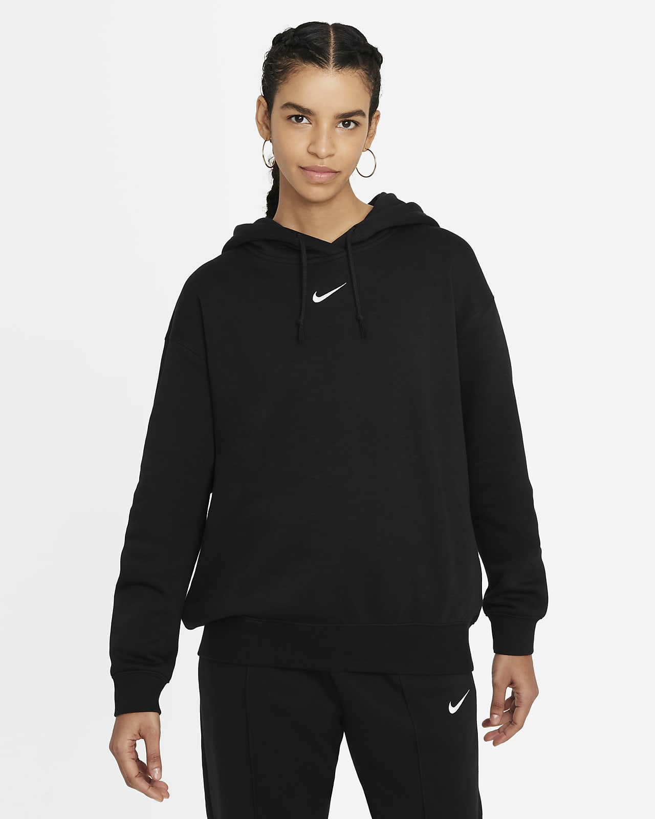 Hoodie folgado de lã cardada Nike Sportswear Essential Collection para mulher