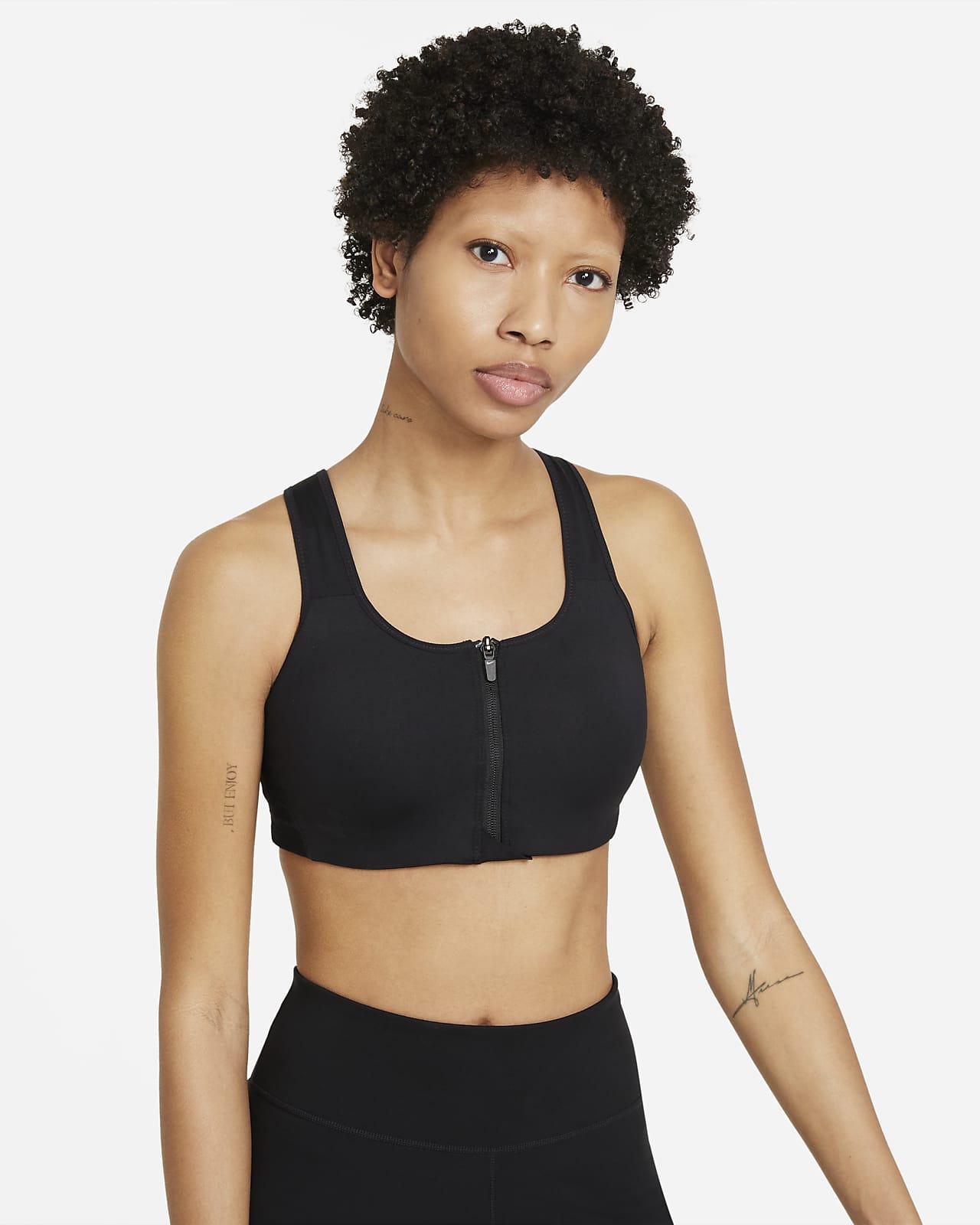 Nike Dri-FIT Shape-sports-bh med højt støtteniveau, indlæg og lynlås foran til kvinder