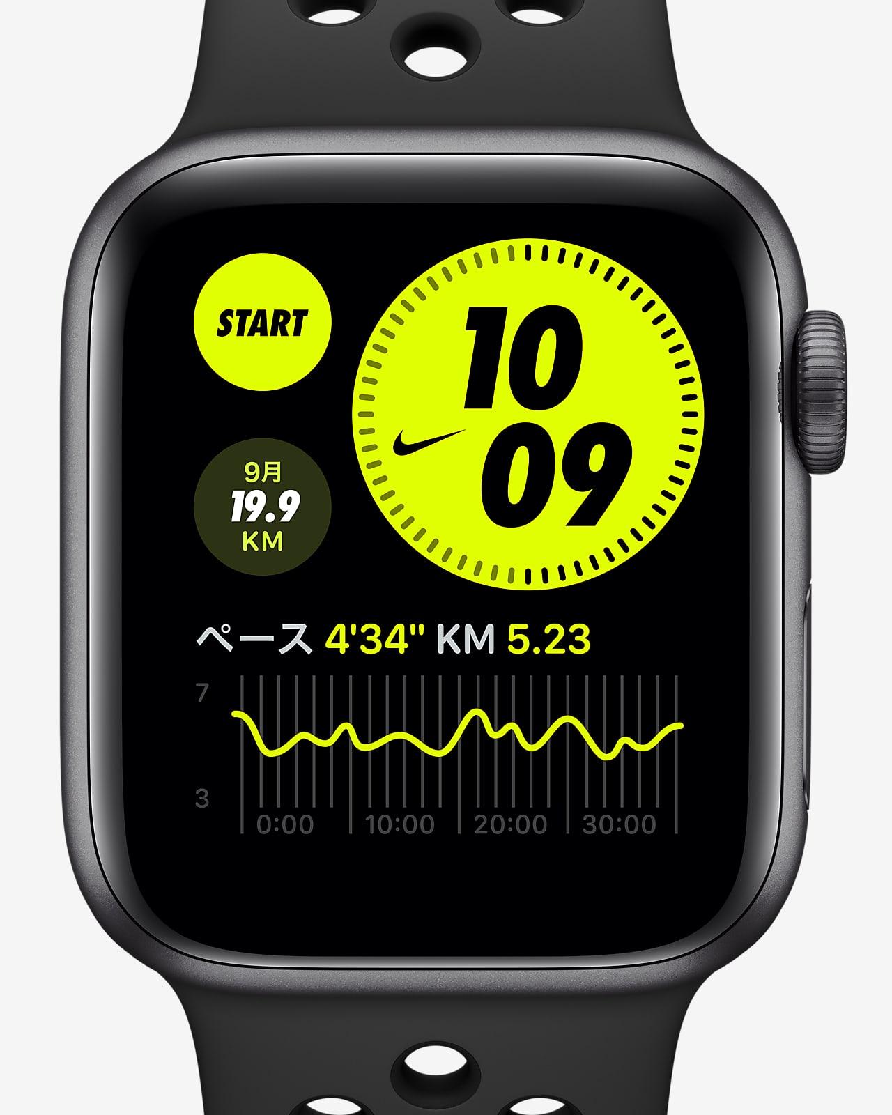 アップル ウォッチ ナイキ シリーズ 6 (GPS) with ナイキ スポーツバンド 44mm スペース グレー アルミニウム ケース