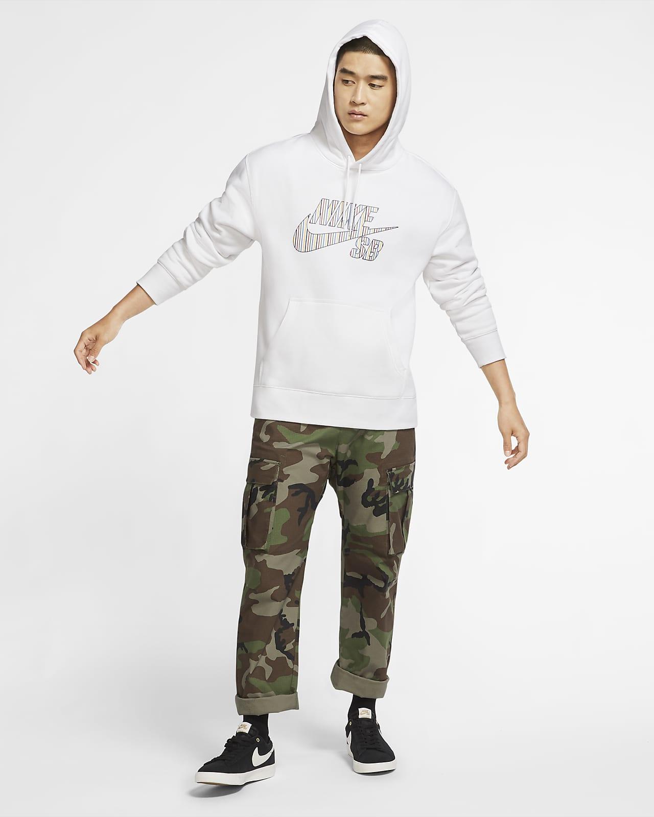 Nike SB gestreifter Skateboard Hoodie für Herren. Nike AT