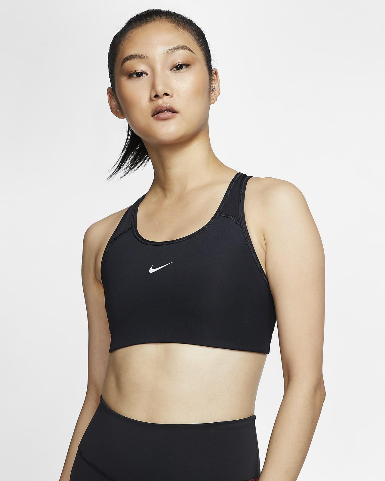 Nike Dri-FIT Swoosh sports-BH med innlegg i én del og middels støtte til dame