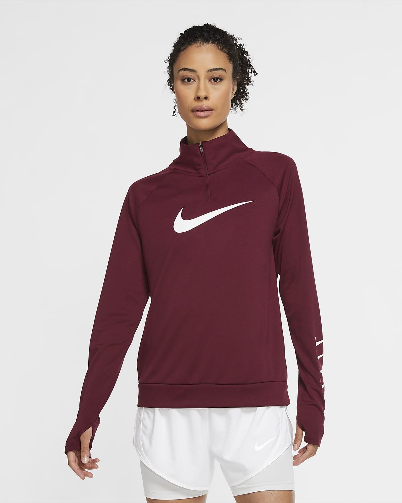 Nike Swoosh Run løpeoverdel med glidelås i halsen til dame