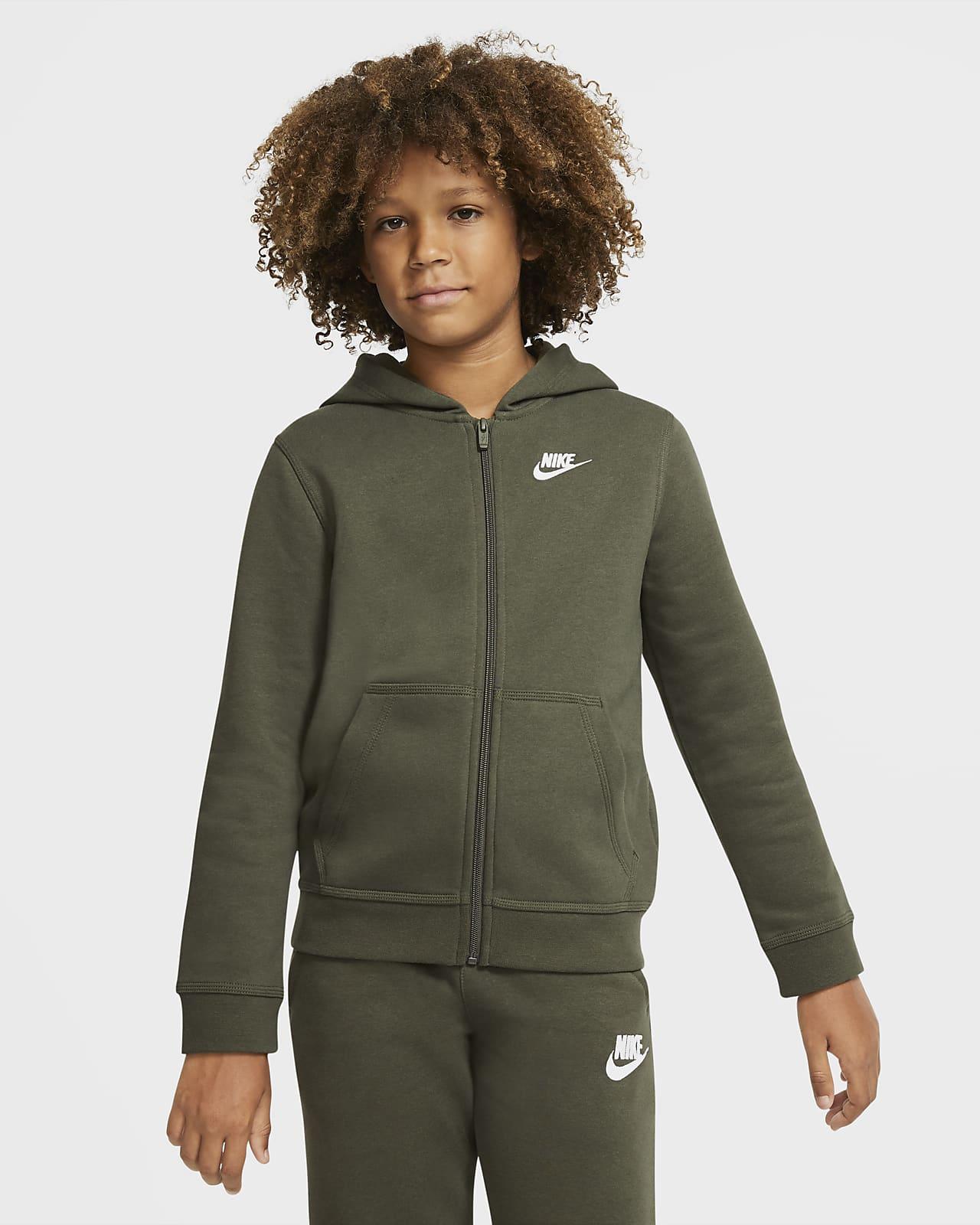 Nike Sportswear Club-hættetrøje med lynlås til store børn