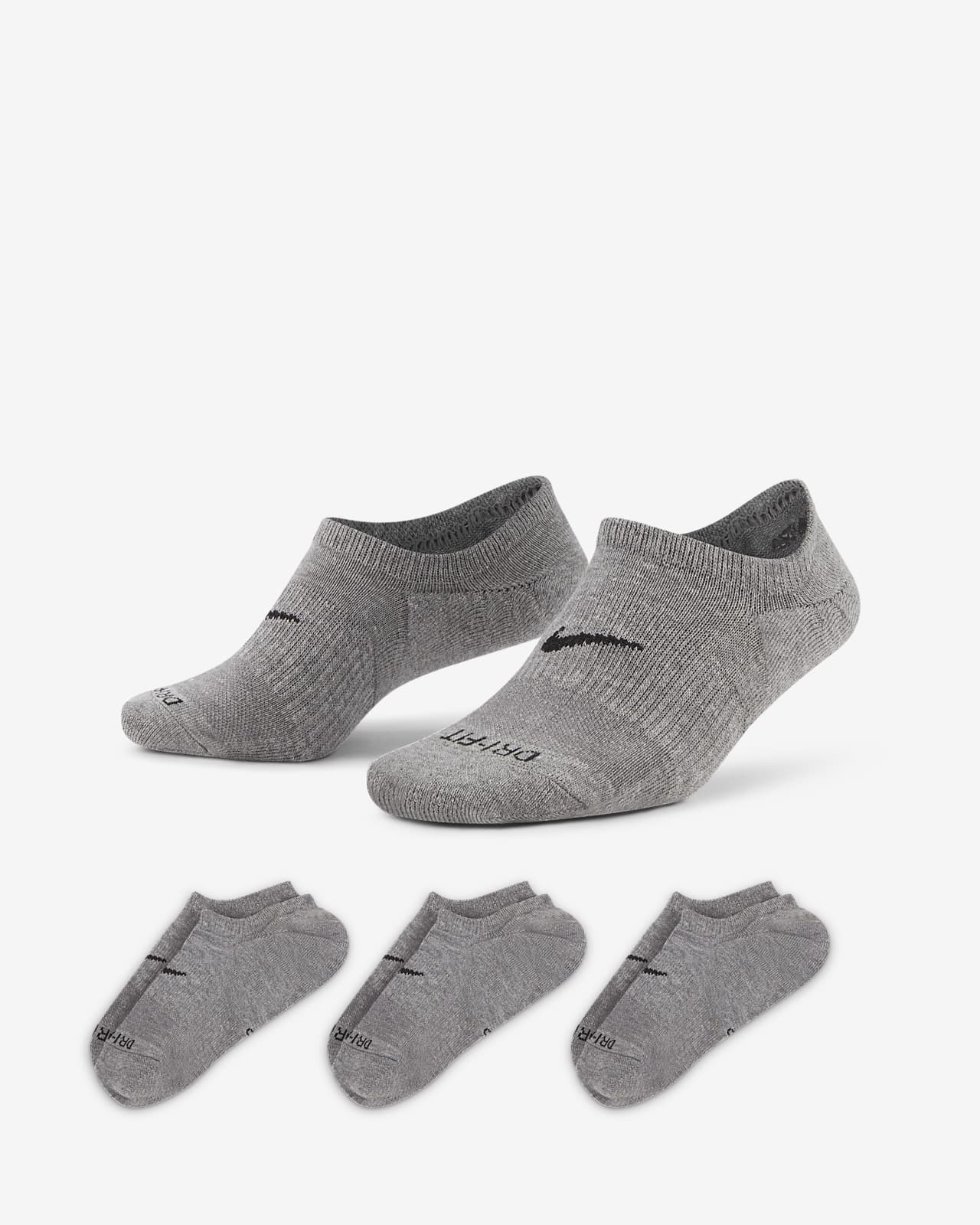 Calcetines invisibles de entrenamiento para mujer Nike Everyday Plus Cushioned (3 pares)