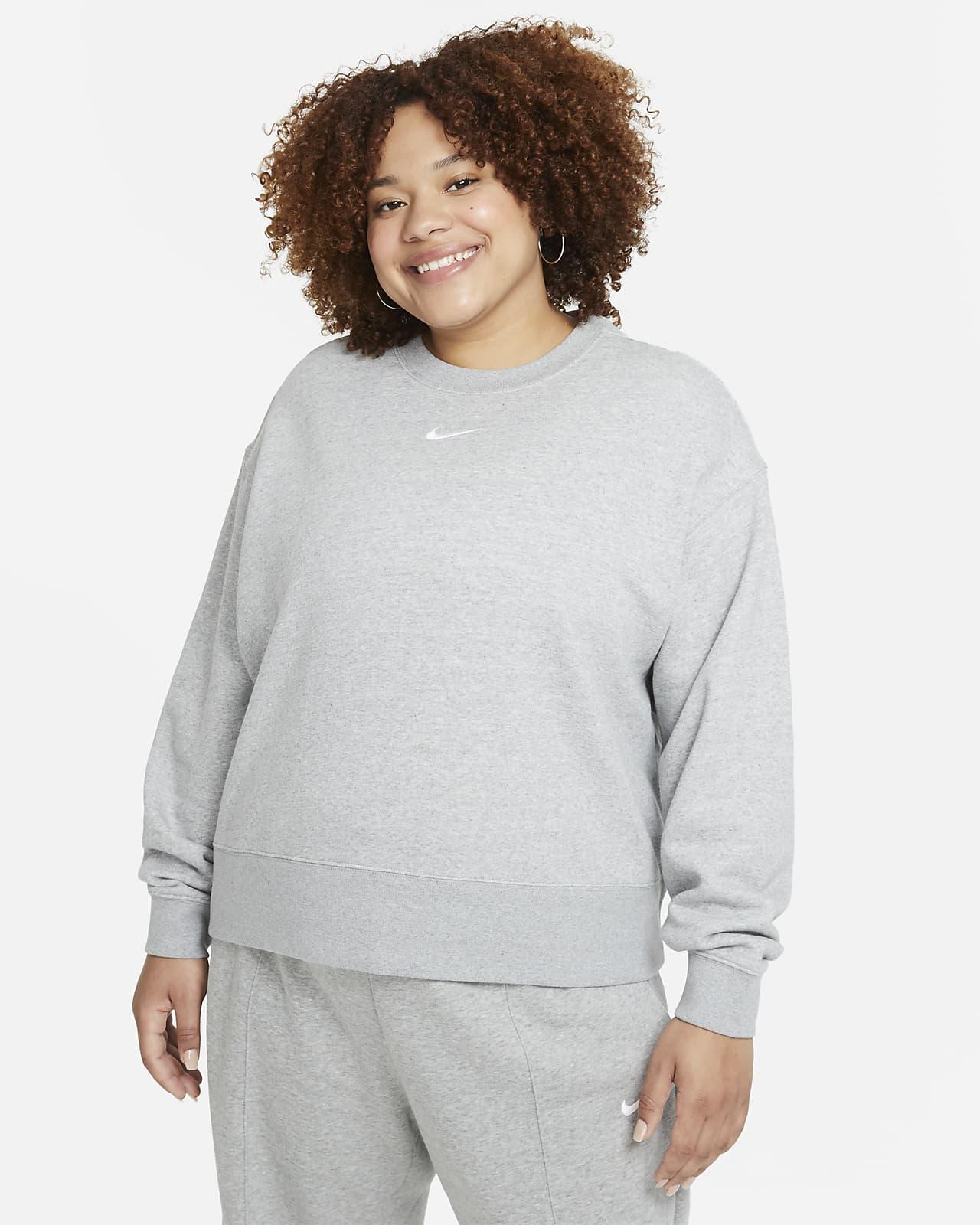 Sudadera de cuello redondo de tejido Fleece oversized para mujer Nike Sportswear Collection Essentials (talla grande)
