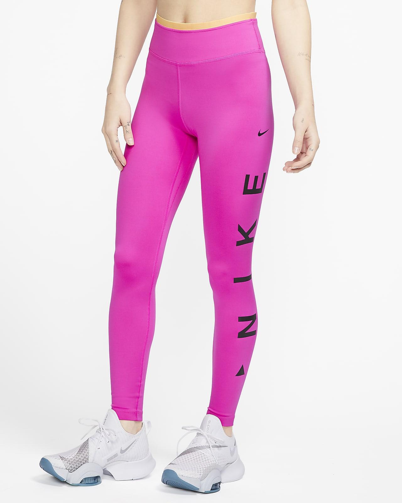 Mallas de 7/8 y tiro medio con gráfico para mujer Nike One Icon Clash