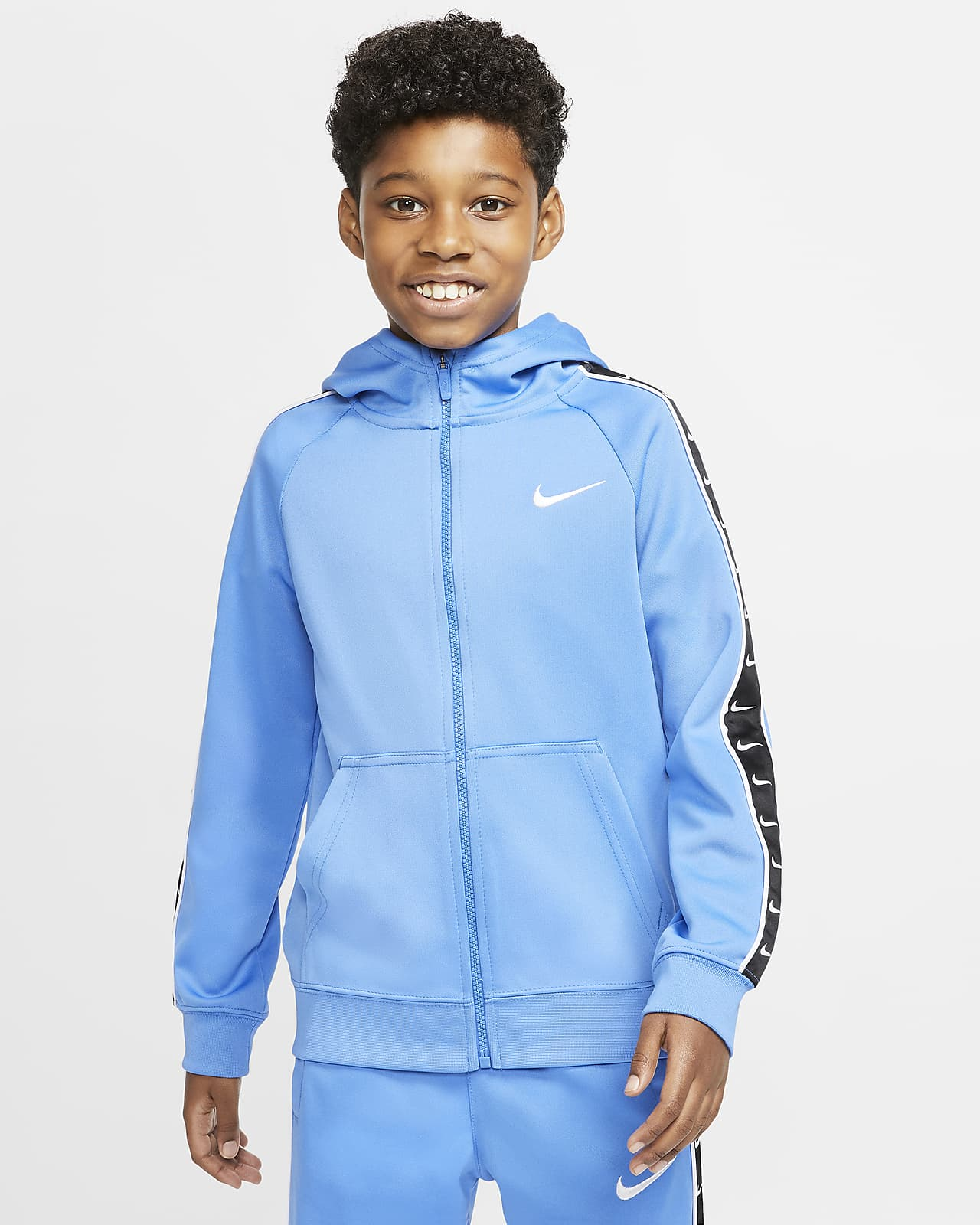 Sudadera con capucha de cierre completo para niño talla grande Nike Sportswear Swoosh