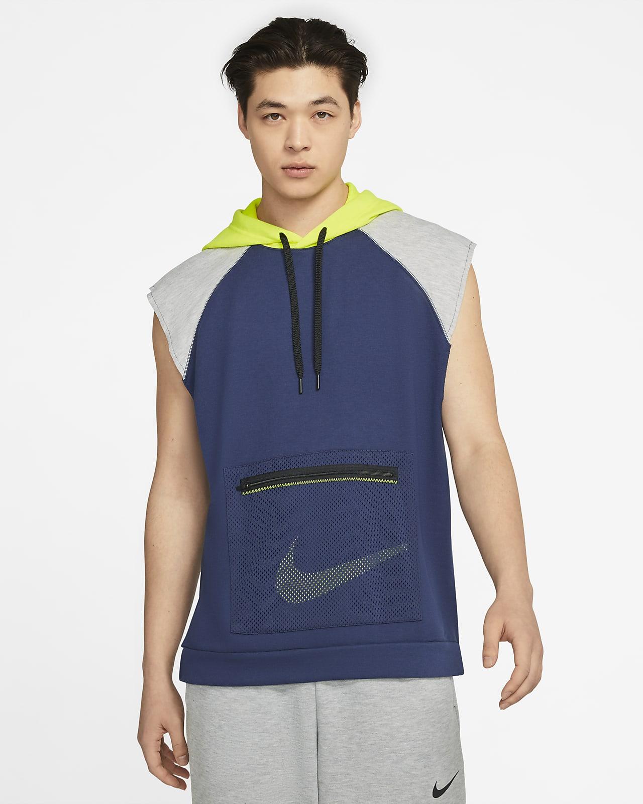 เสื้อเทรนนิ่งมีฮู้ดผ้าฟลีซแขนกุดผู้ชาย Nike Dri-FIT