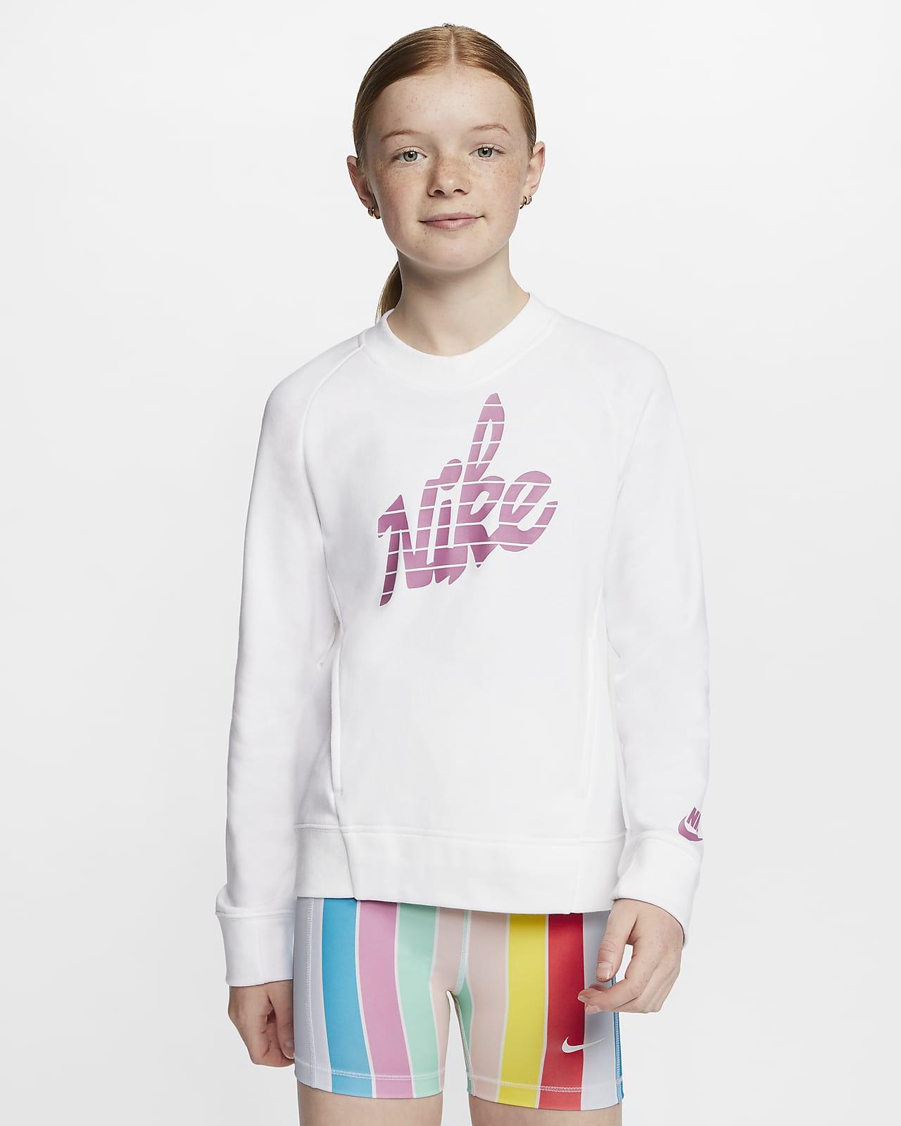 Sudadera de cuello redondo con gráfico para niña talla grande Nike Sportswear