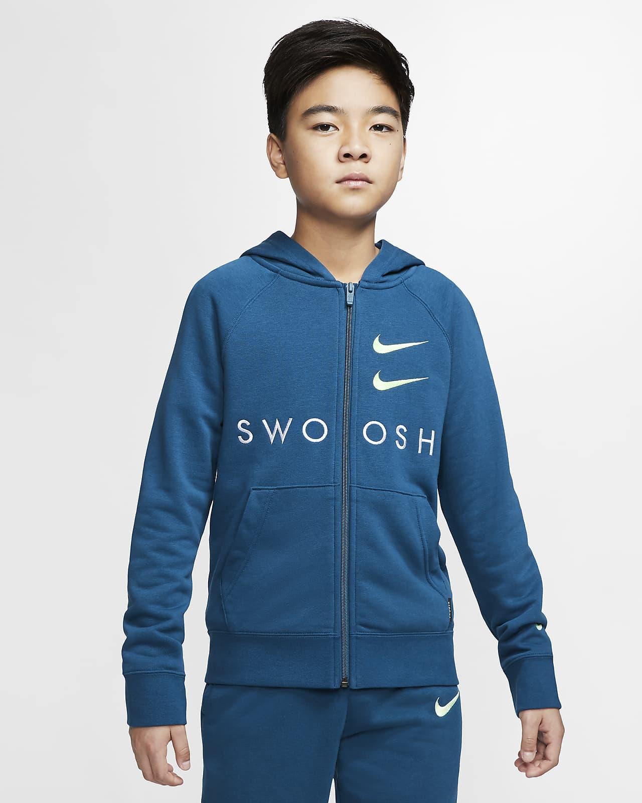Nike Sportswear Swoosh French-Terry-Hoodie mit durchgehendem Reißverschluss für ältere Kinder (Jungen)