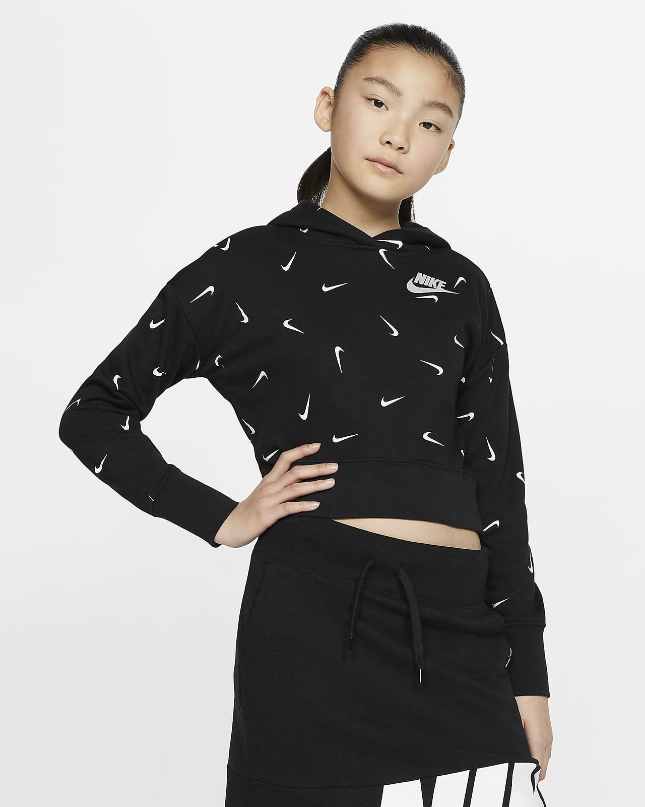 Zkrácená mikina Nike Sportswear skapucí zfrancouzského froté pro větší děti (dívky)