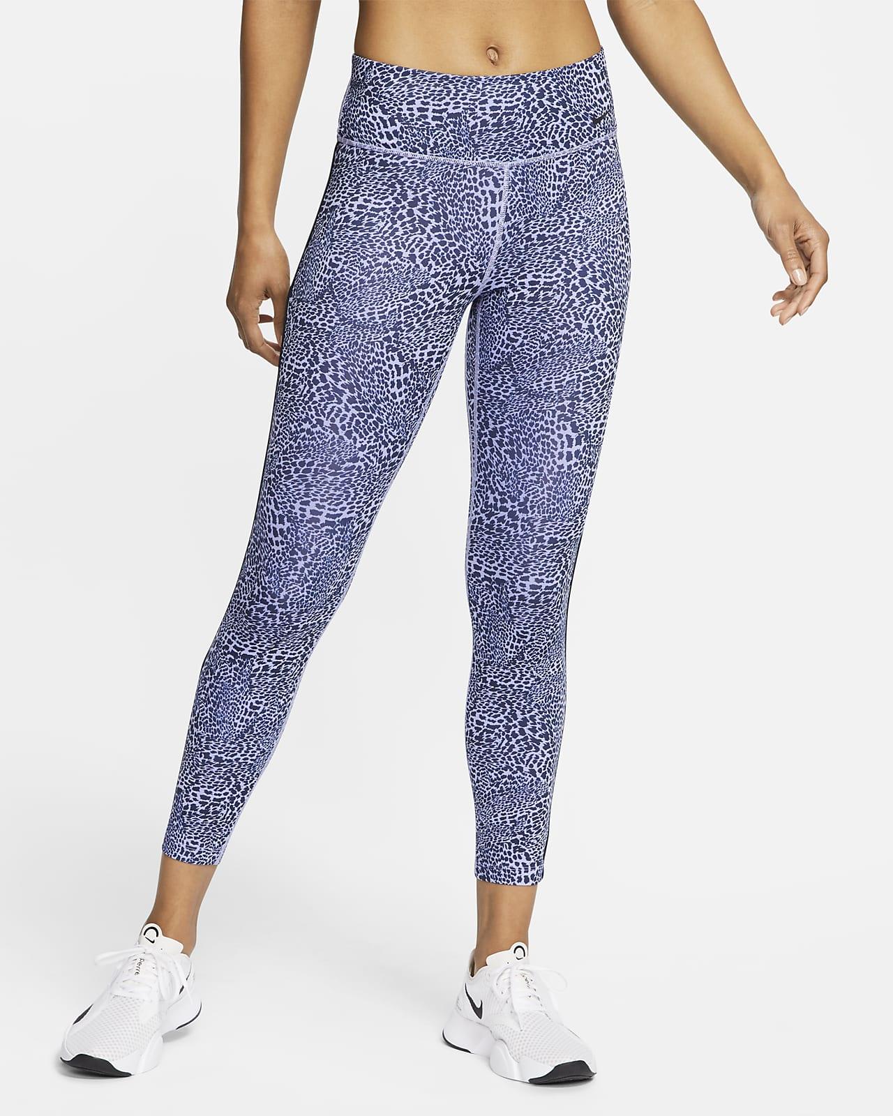 Tights med leopardmönster i 7/8-längd med medelhög midja Nike One för kvinnor