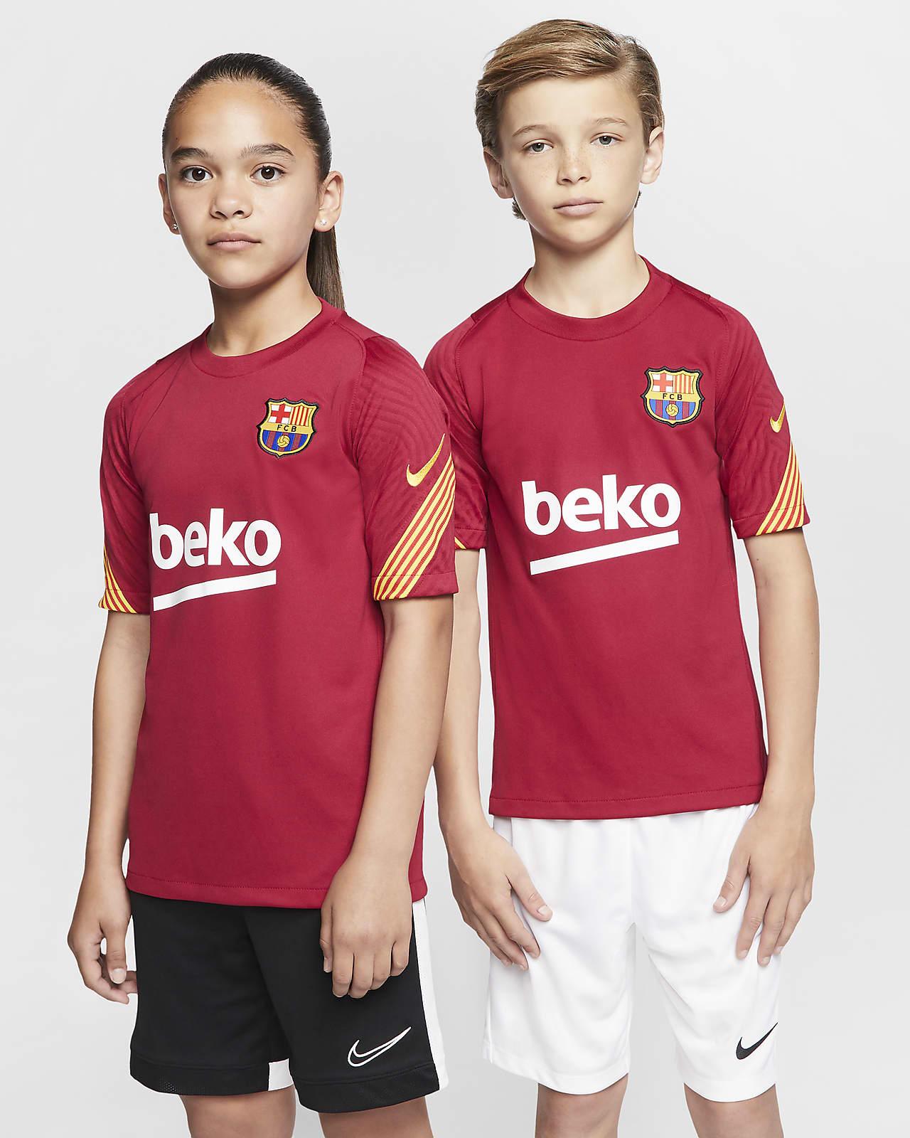 Κοντομάνικη ποδοσφαιρική μπλούζα Μπαρτσελόνα Strike για μεγάλα παιδιά