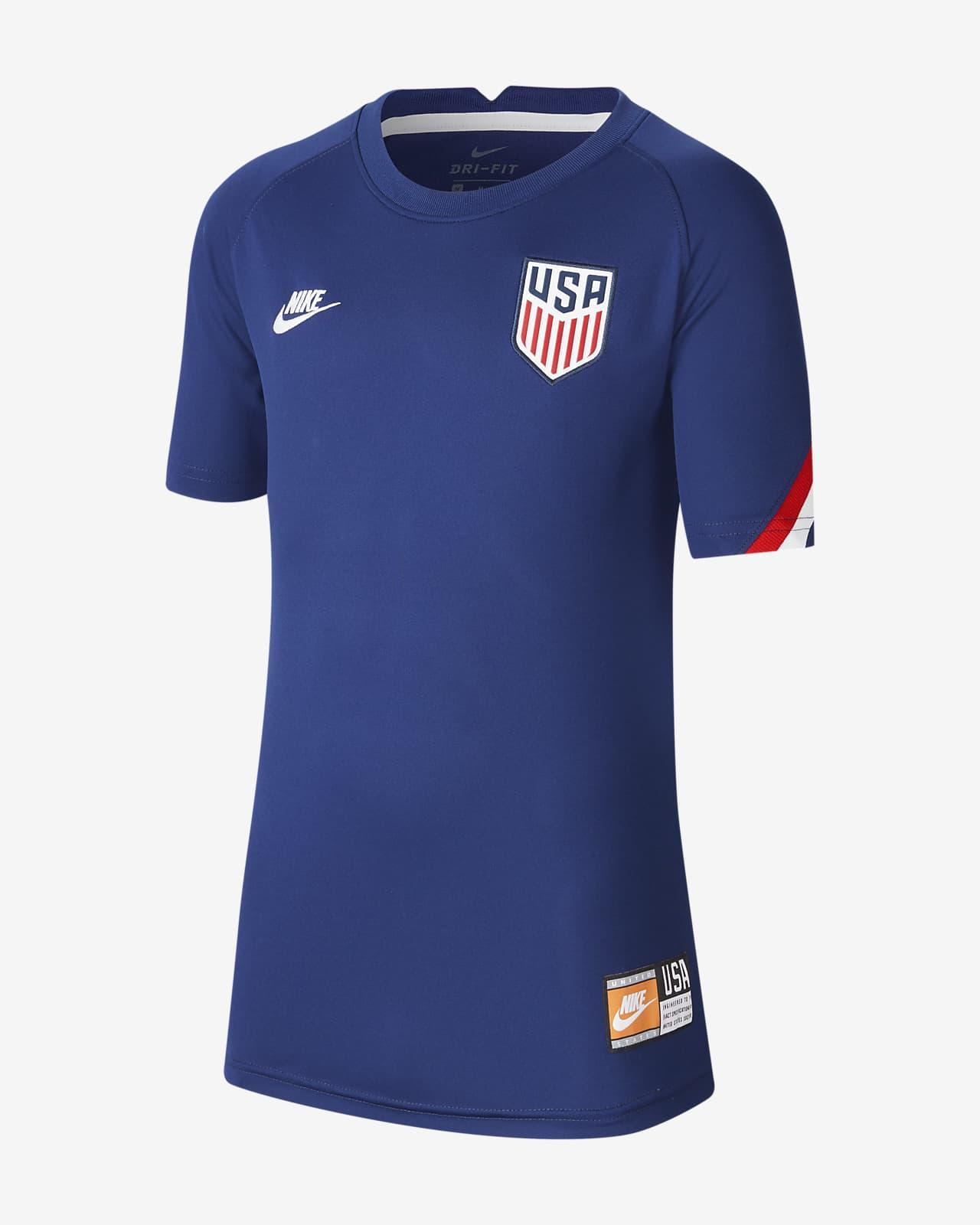 Camiseta de fútbol de manga corta para antes del partido para niños talla grande U.S.