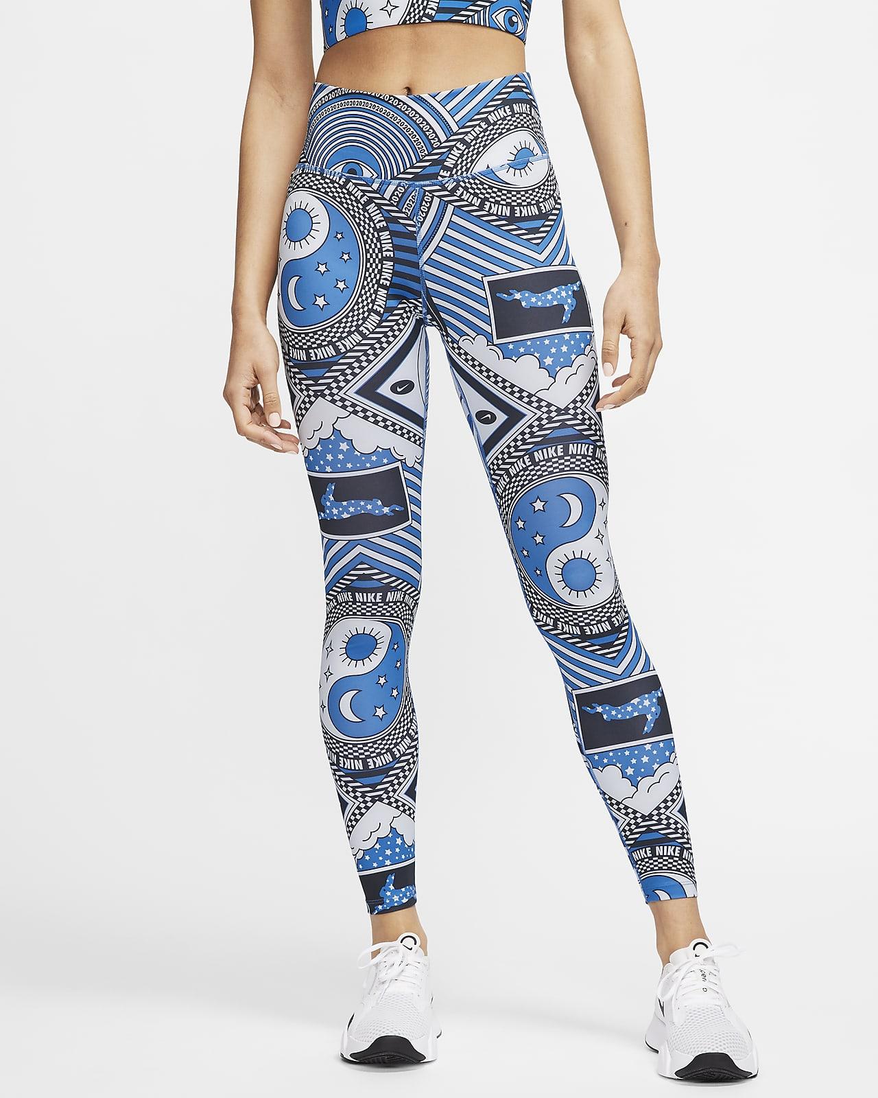 Nike One 7/8-Tights mit mittelhohem Bund und Print für Damen