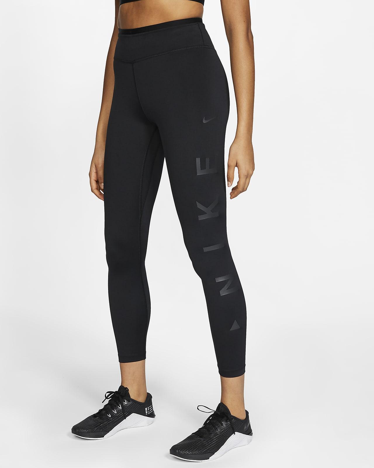 Nike One Icon Clash 7/8-tights met halfhoge taille en graphic voor dames
