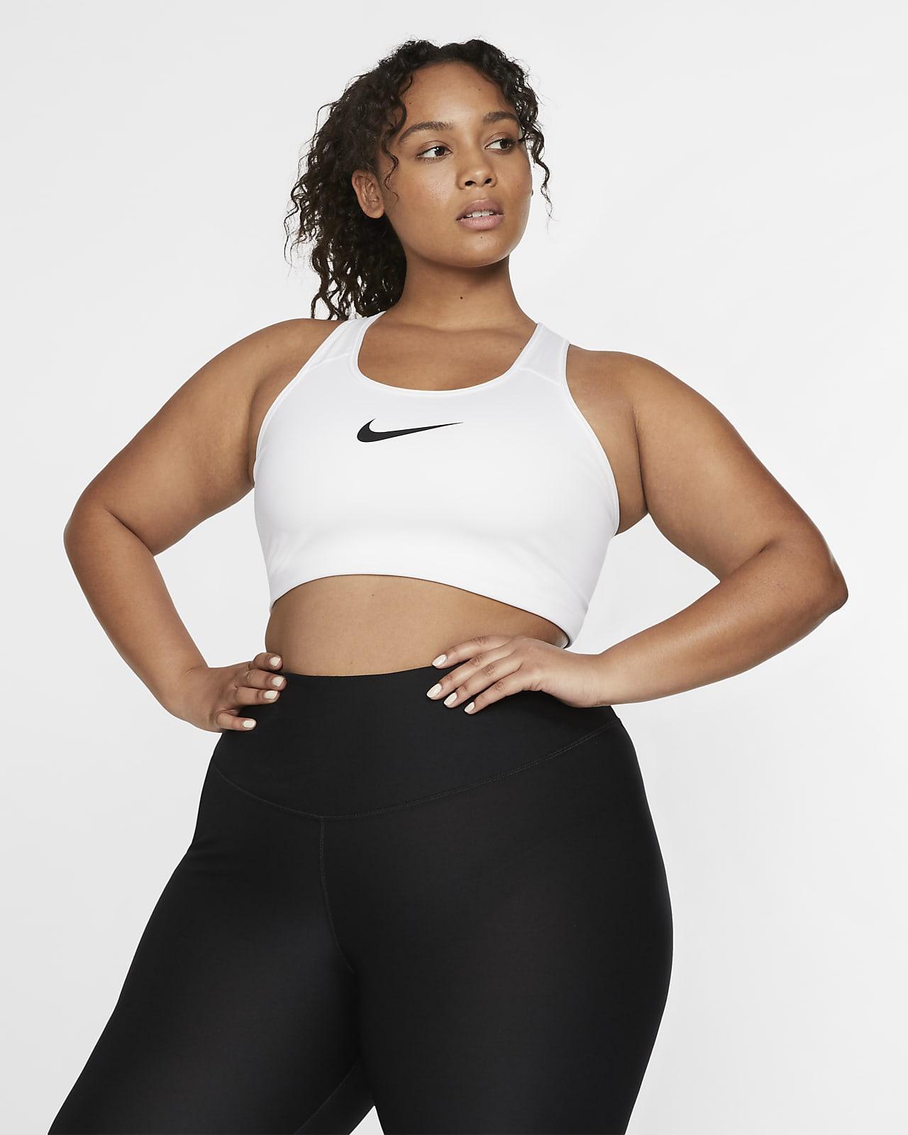 Nike Swoosh közepes tartást adó, párnázás nélküli női sportmelltartó (plus size méret)