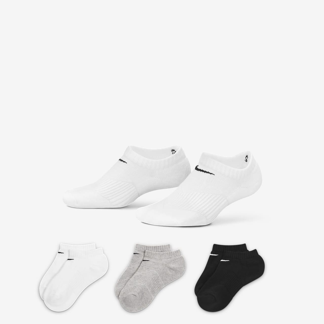 Nike Performance Cushion No-Show sokker for store barn (3 par)