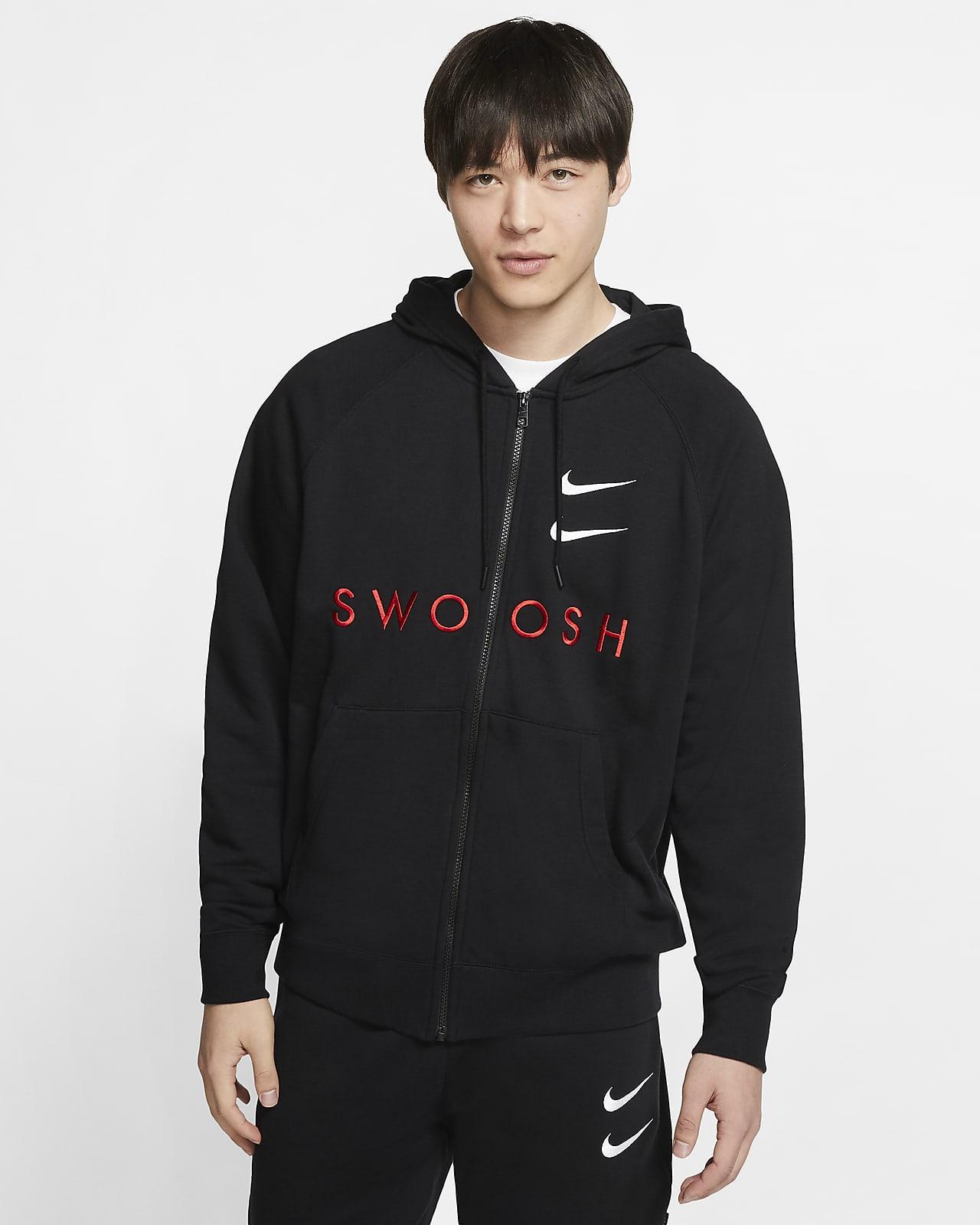 Nike Sportswear Swoosh Hoodie van sweatstof met rits voor heren