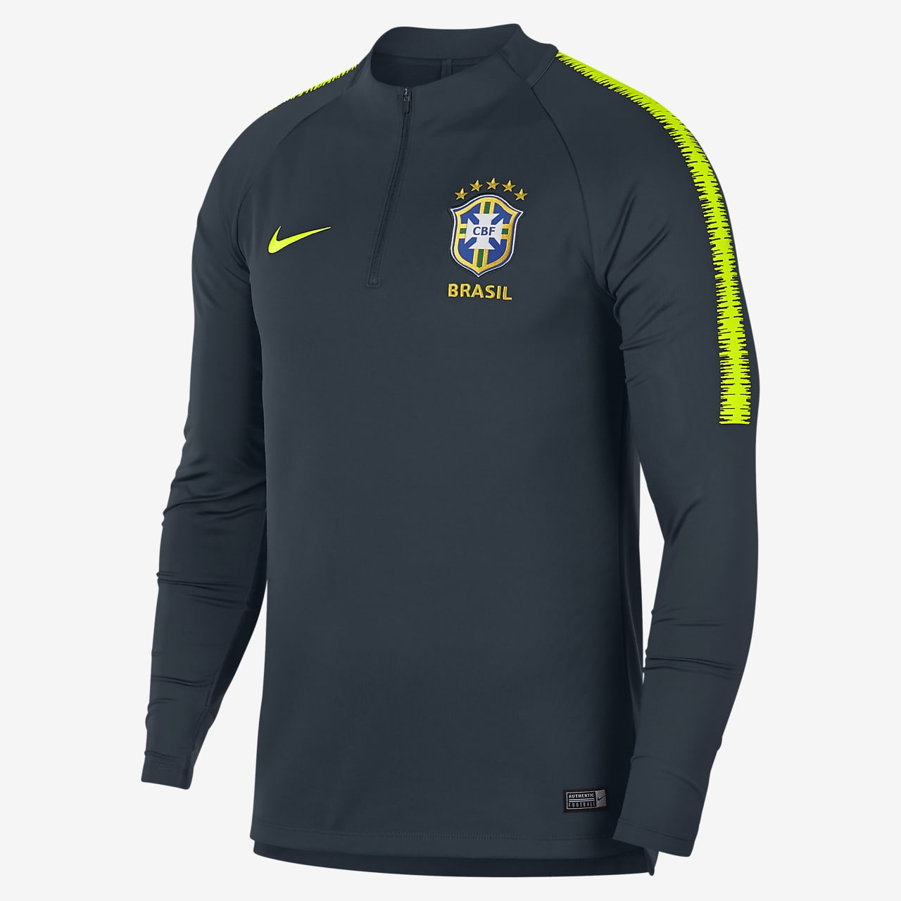 Camisola de futebol de manga comprida Brasil CBF Dri-FIT Squad Drill para homem