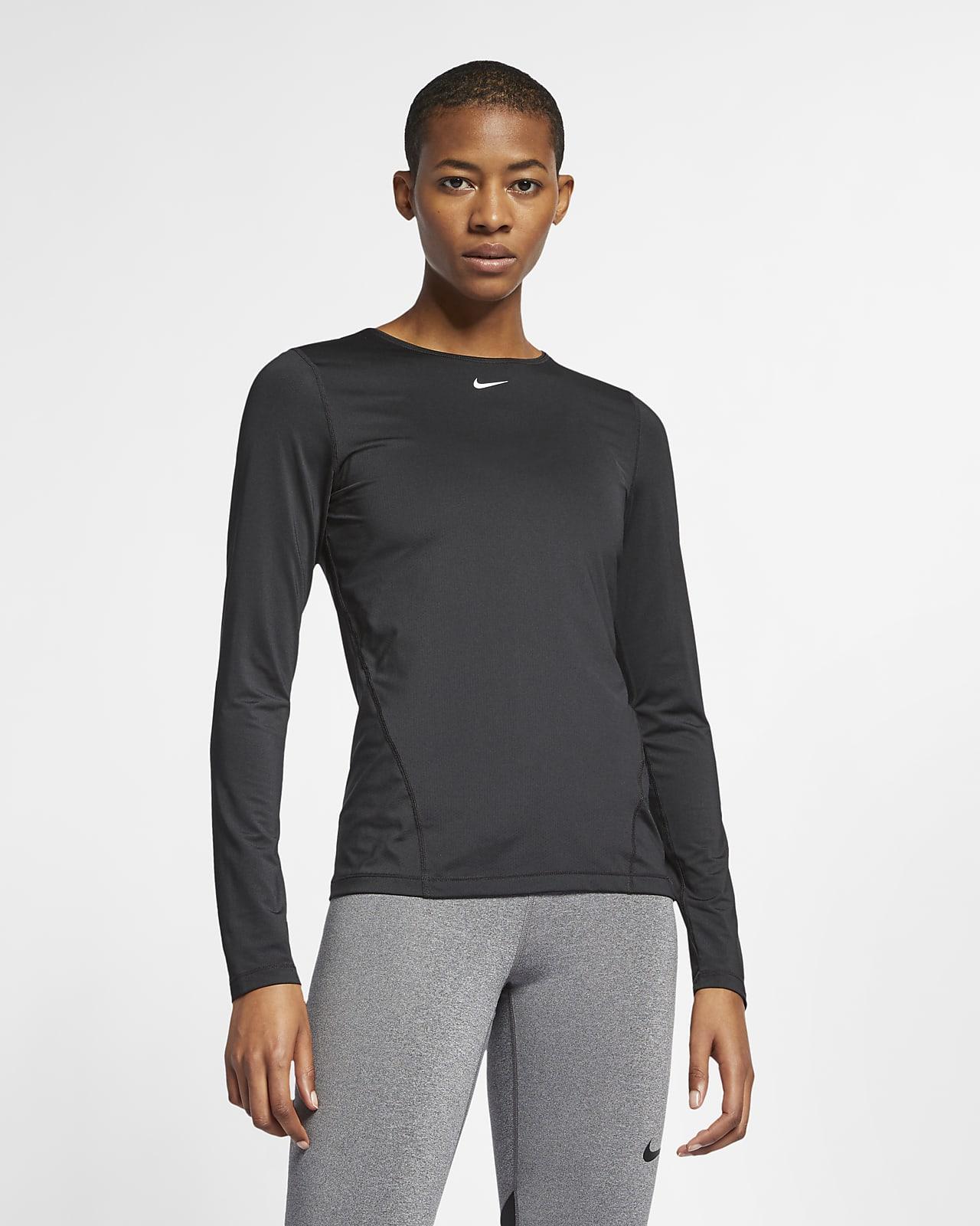 Långärmad tröja i mesh Nike Pro för kvinnor