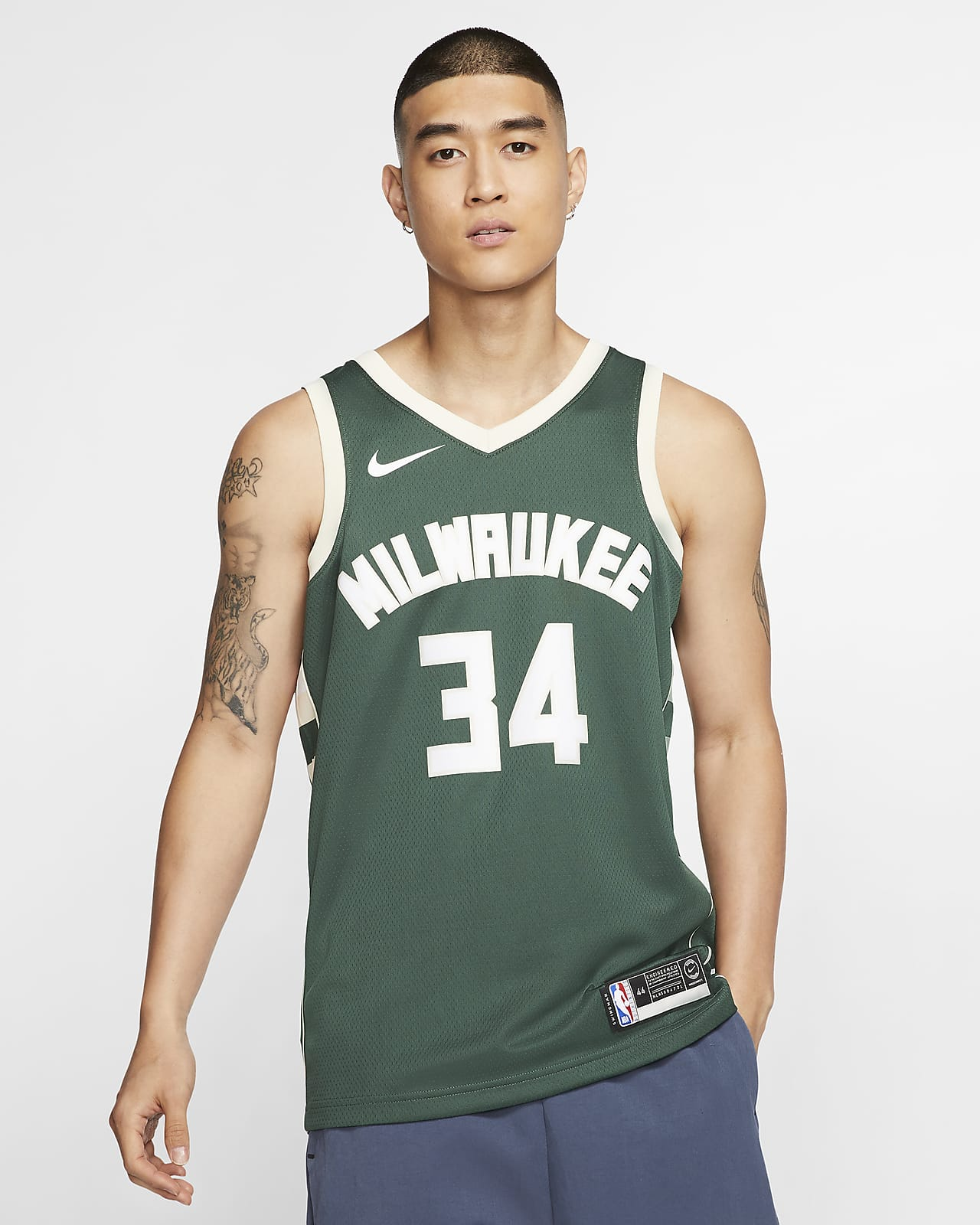 เสื้อแข่ง Nike NBA Swingman ผู้ชาย Giannis Antetokounmpo Bucks Icon Edition