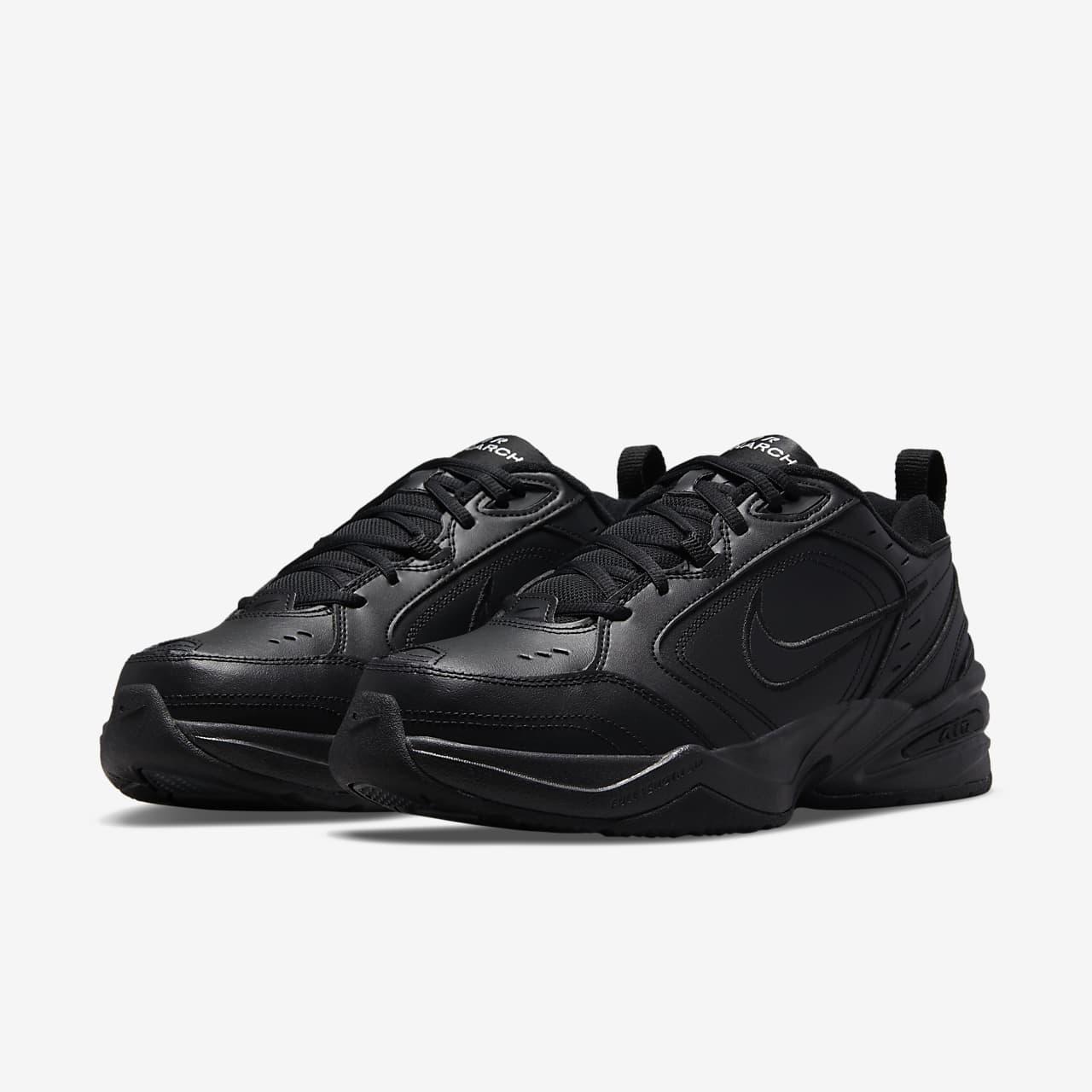 nike air monarch black on feet
